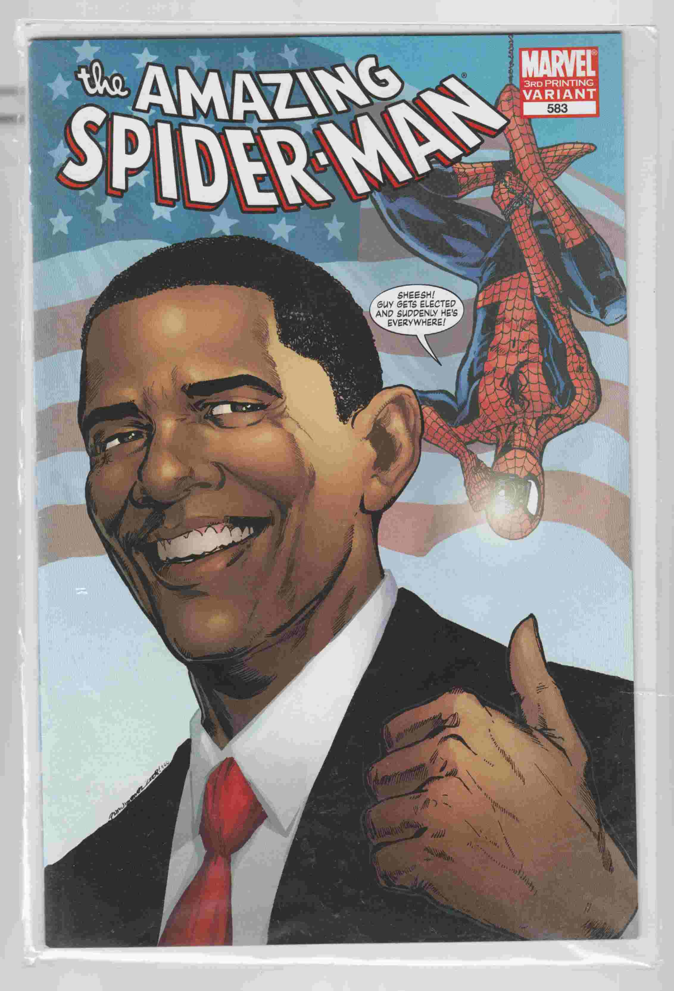 Image for The Amazing Spider-Man Marvel 3rd Printing Variant 583 Obama Cover