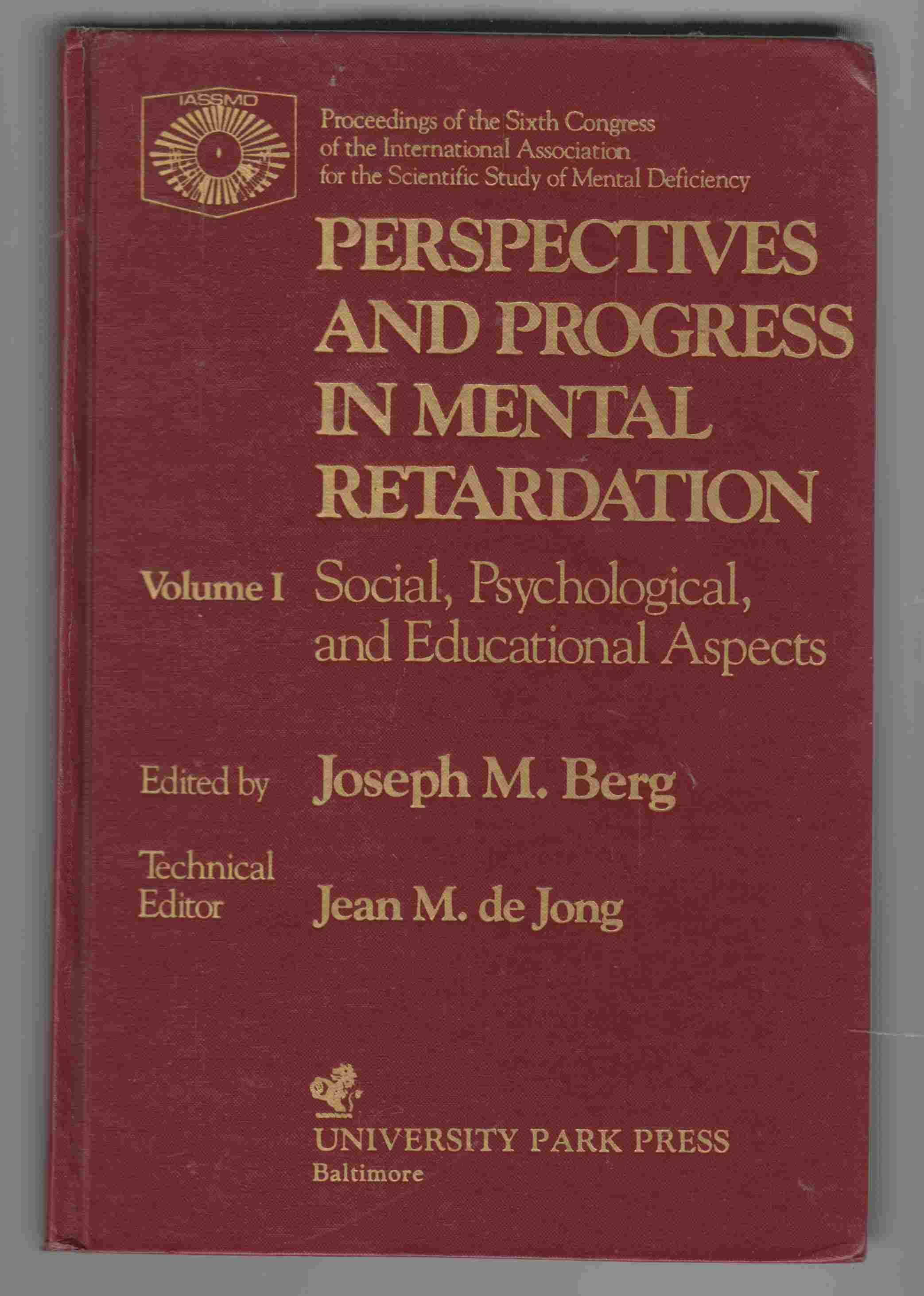 Image for Perspectives and Progress in Mental Retardation: Volume I Social, Psychological, and Educational Aspects