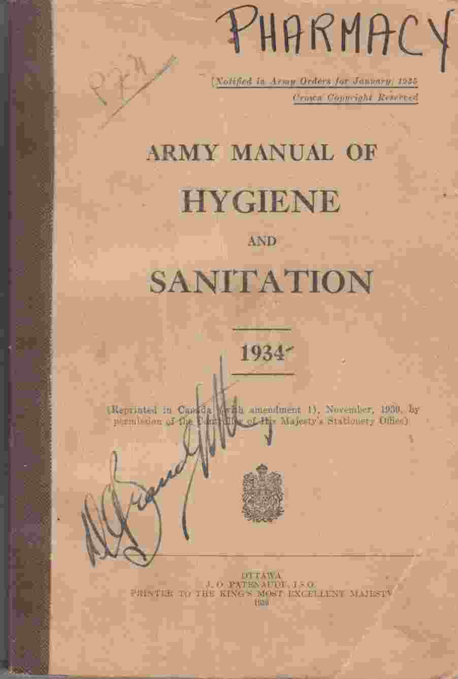 Image for Army Manual of Hygiene and Sanitation 1934