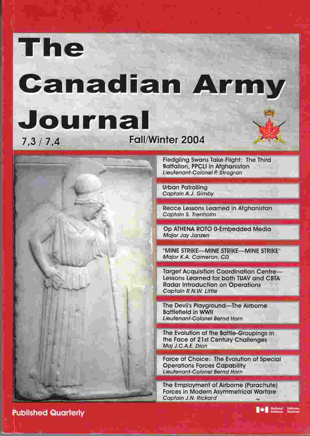 Image for The Canadian Army Journal Fall / Winter 2004 Le Journal De L'Armee Du Canada Automne / Hiver 2004