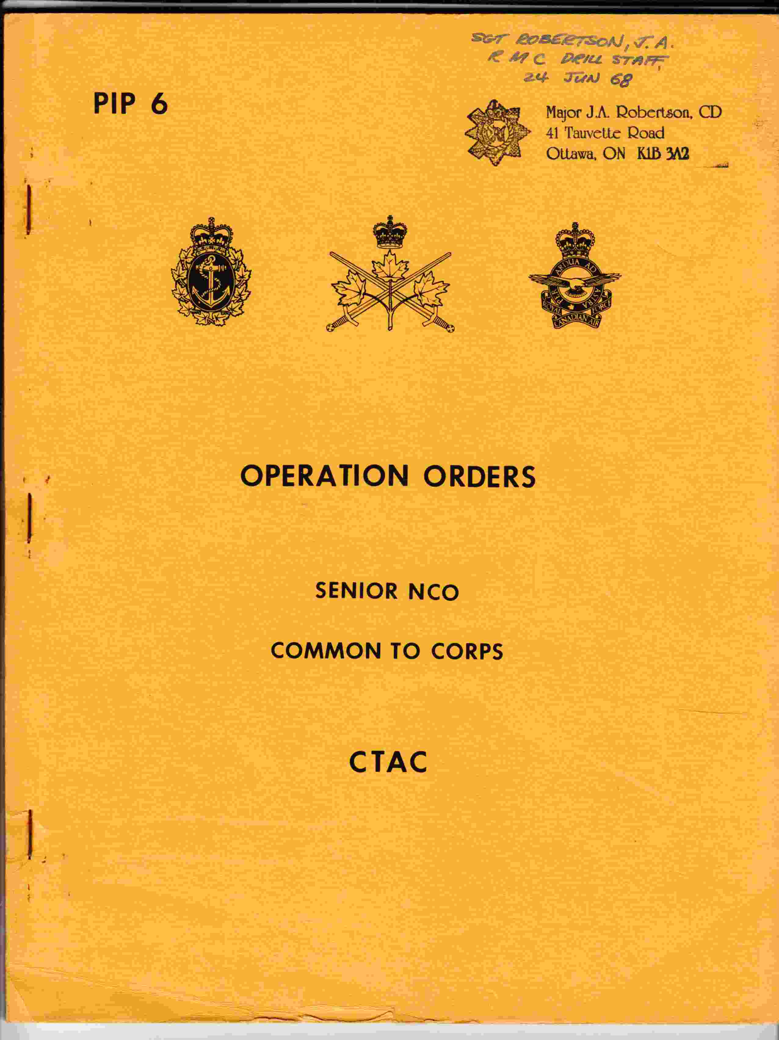 Image for Operation Orders Senior NCO Common to Corps