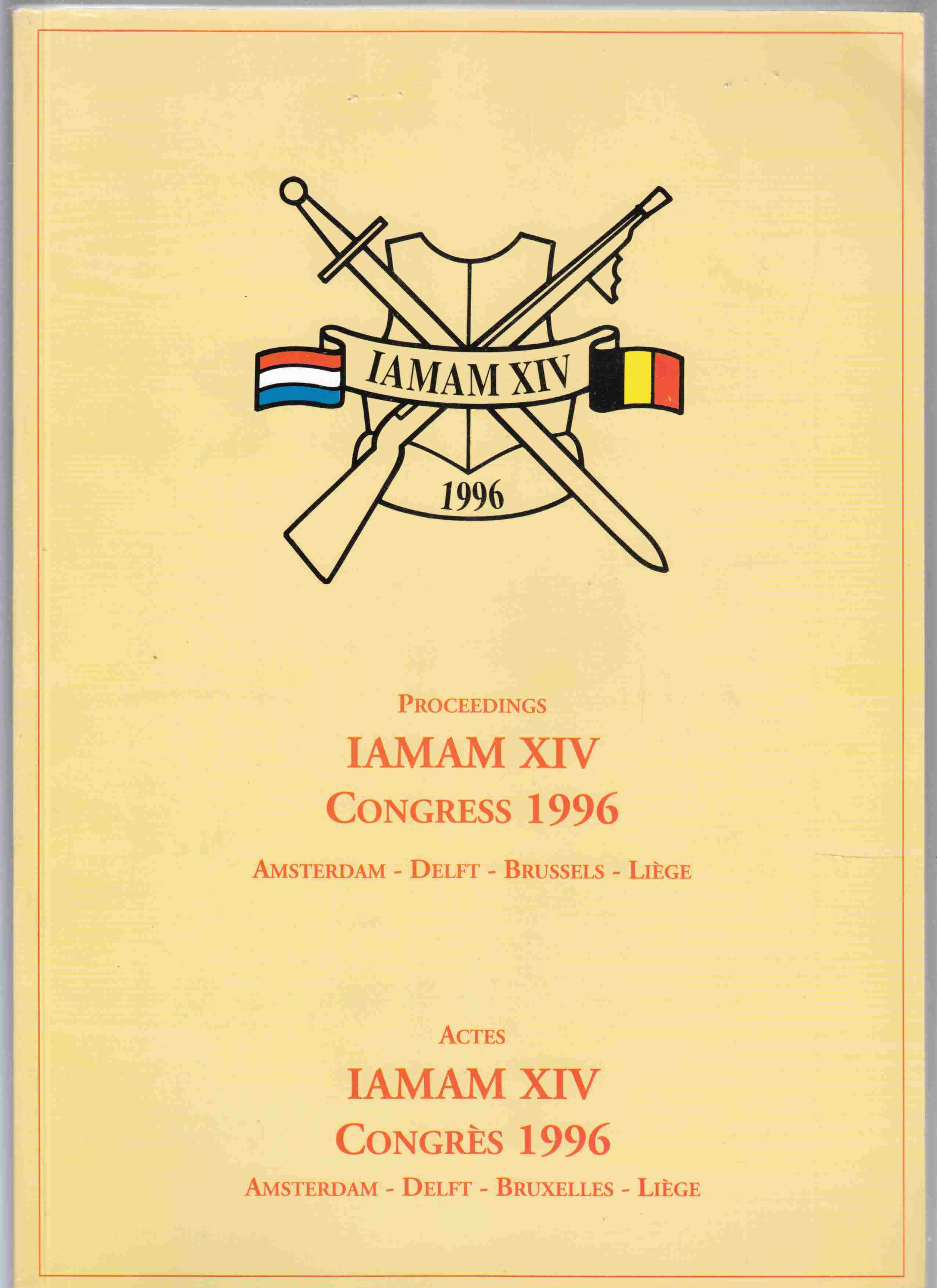 Image for Proceedings IAMAM XIV Congress 1991 / Actes IAMAM XIV Congres 1996 Amsterdam - Delft - Brussels - Liege