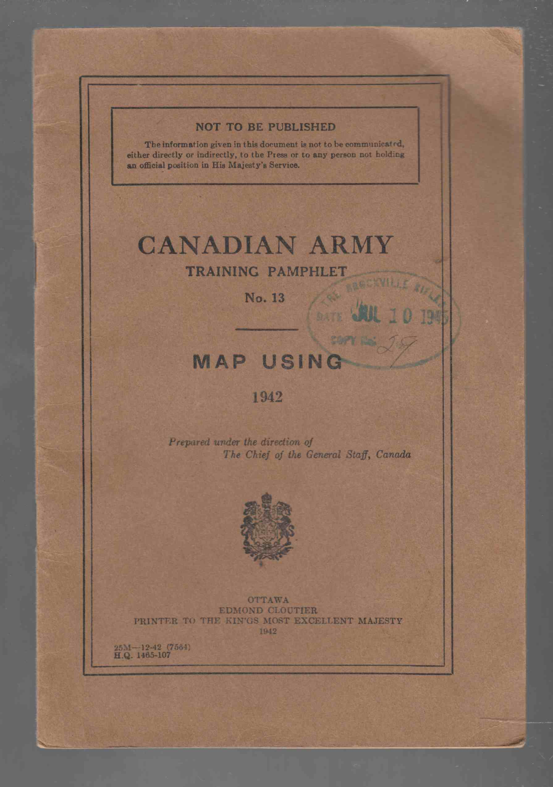 Image for Canadian Army Training Pamphlet No. 13 Map Using 1942