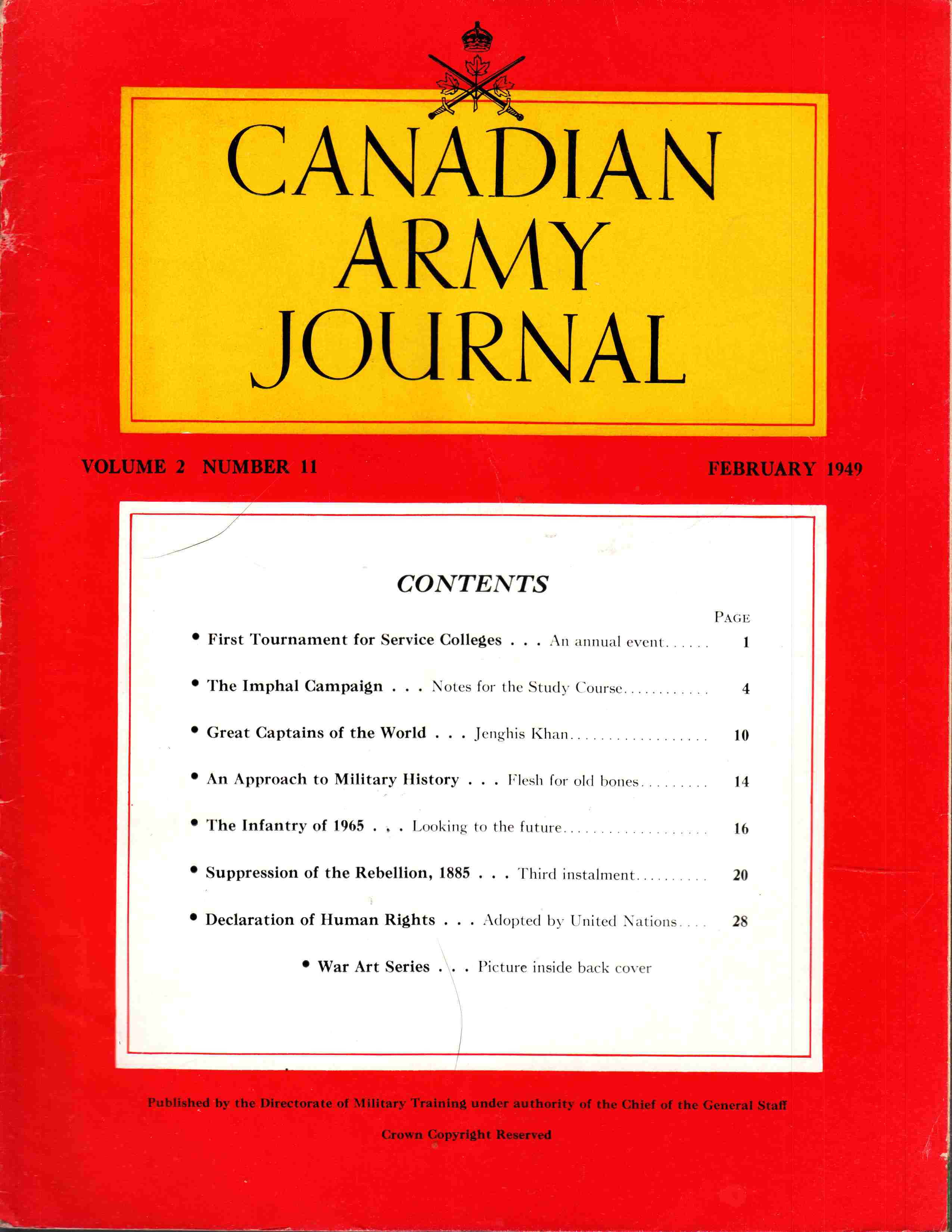 Image for Canadian Army Journal Volume 2 Number 11 February 1949