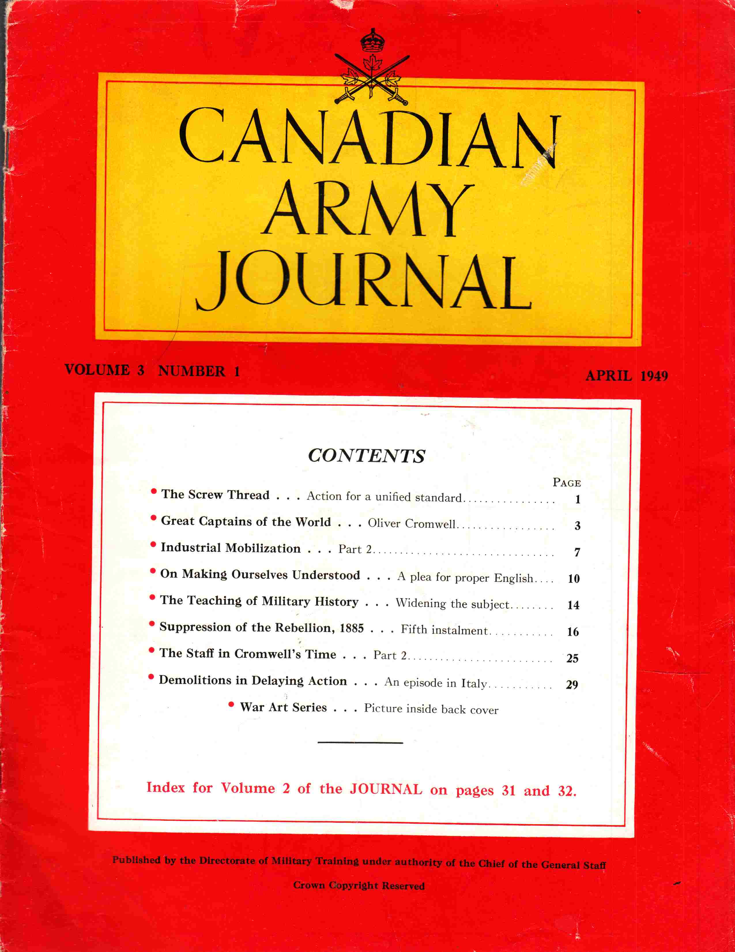 Image for Canadian Army Journal Volume 3 Number 1 April 1949