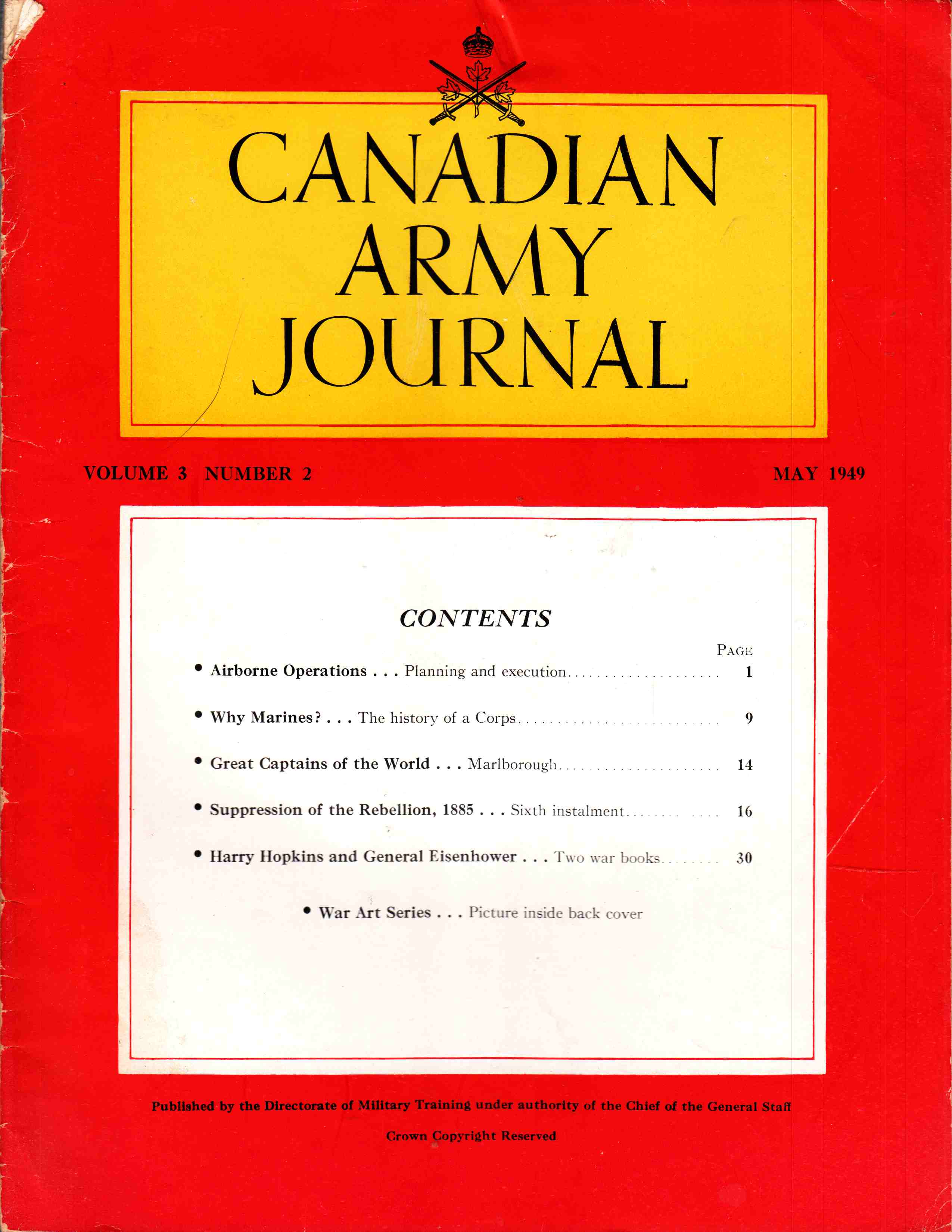 Image for Canadian Army Journal Volume 3 Number 2 May 1949