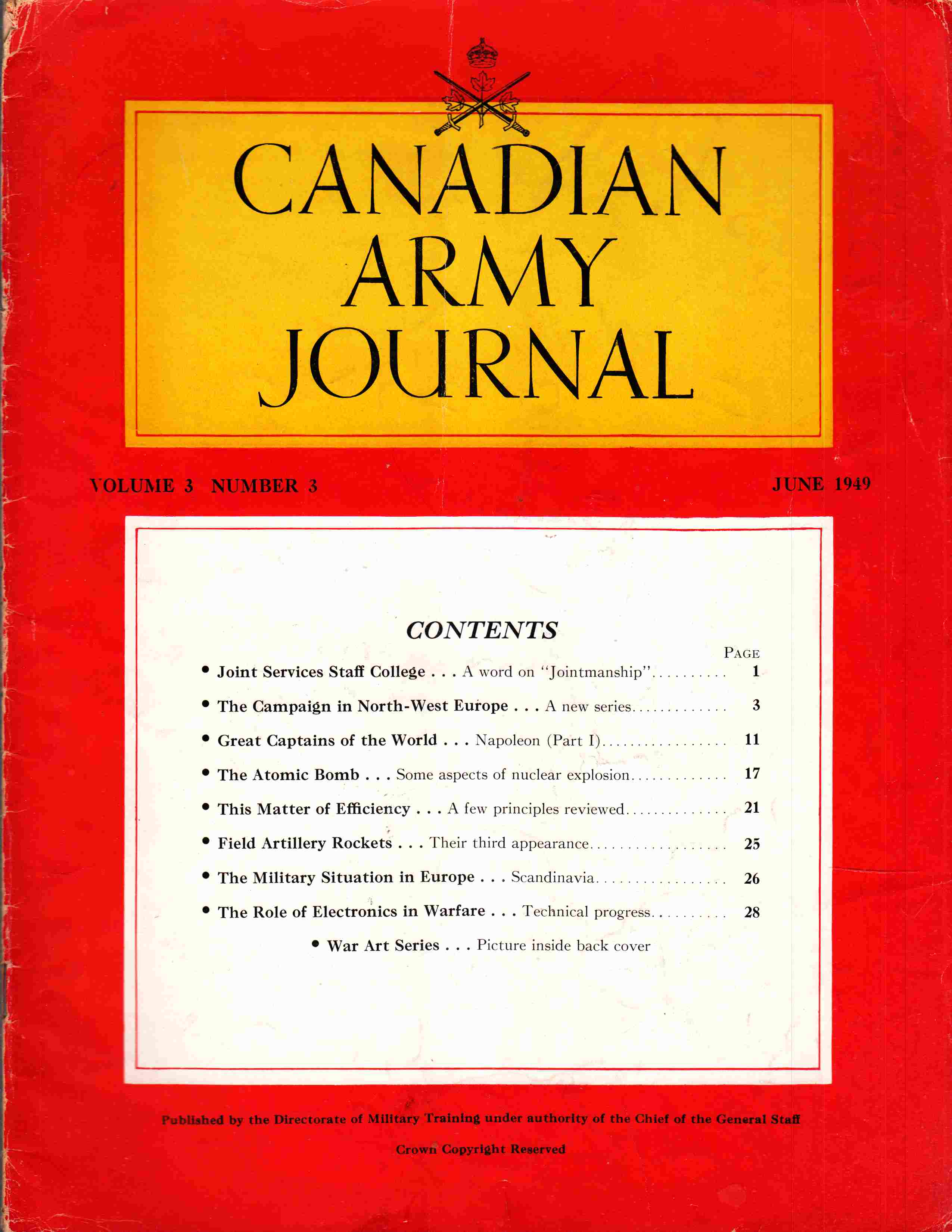 Image for Canadian Army Journal Volume 3 Number 3 June 1949