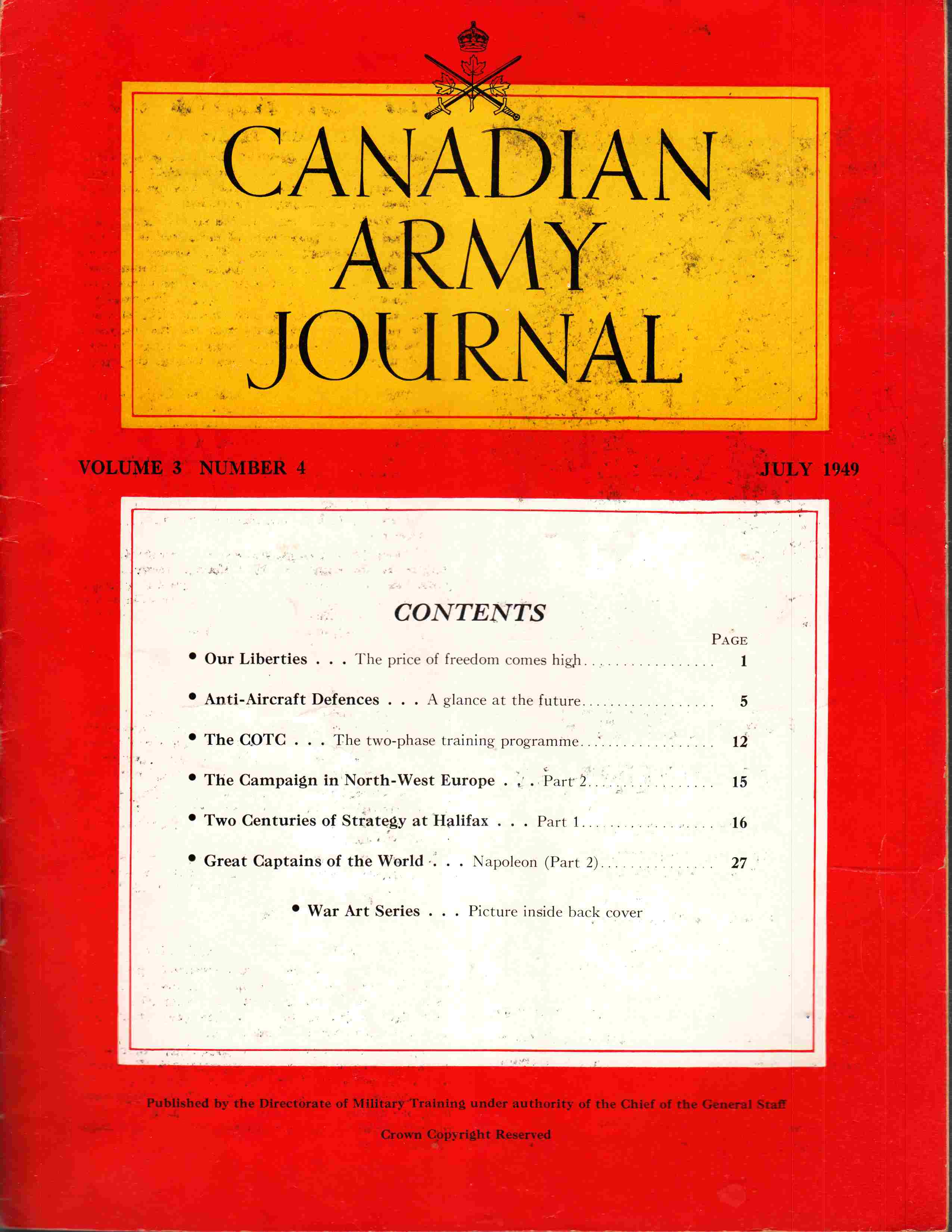 Image for Canadian Army Journal Volume 3 Number 4 July 1949