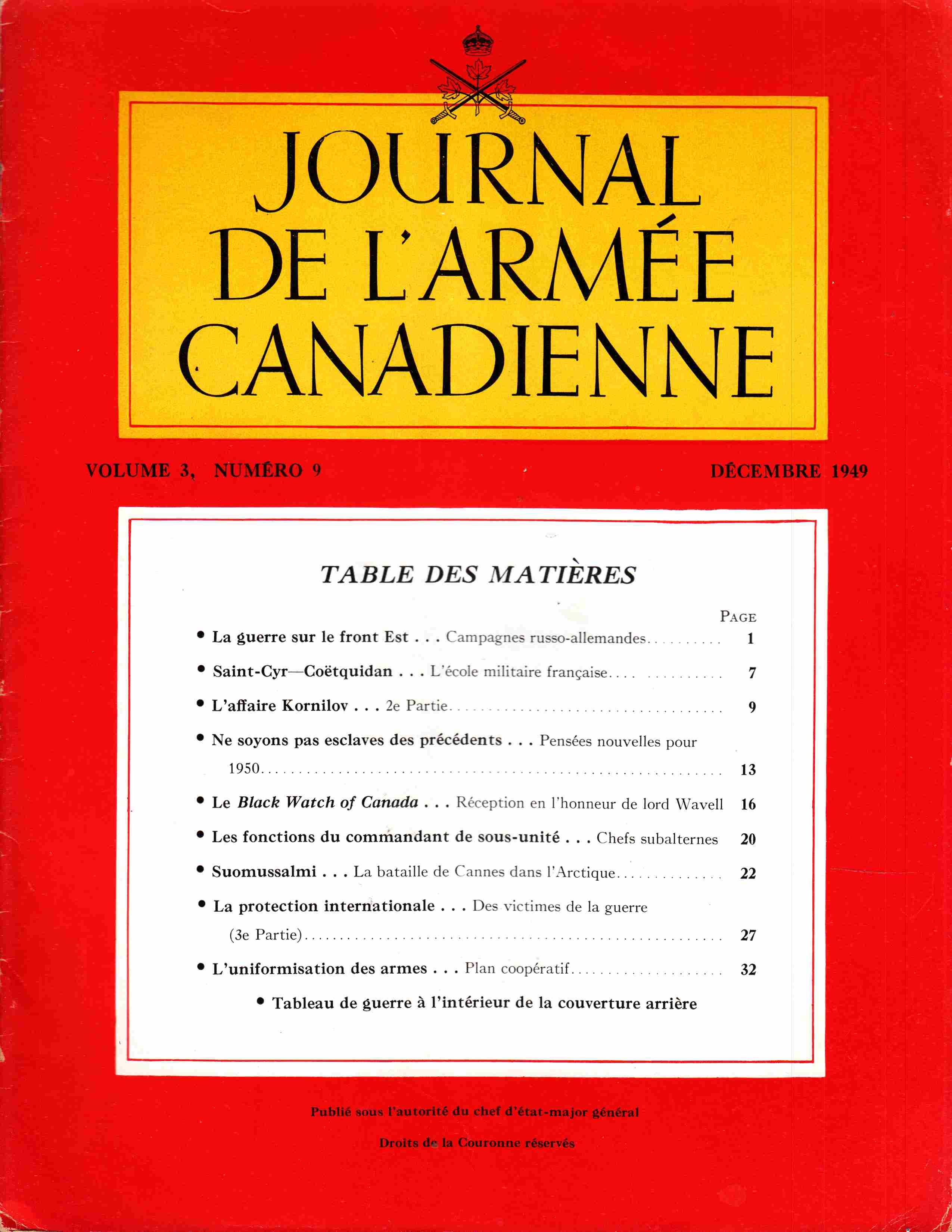 Image for Journal De L'Armee Canadienne Volume 3 Numero 9 Decembre 1949