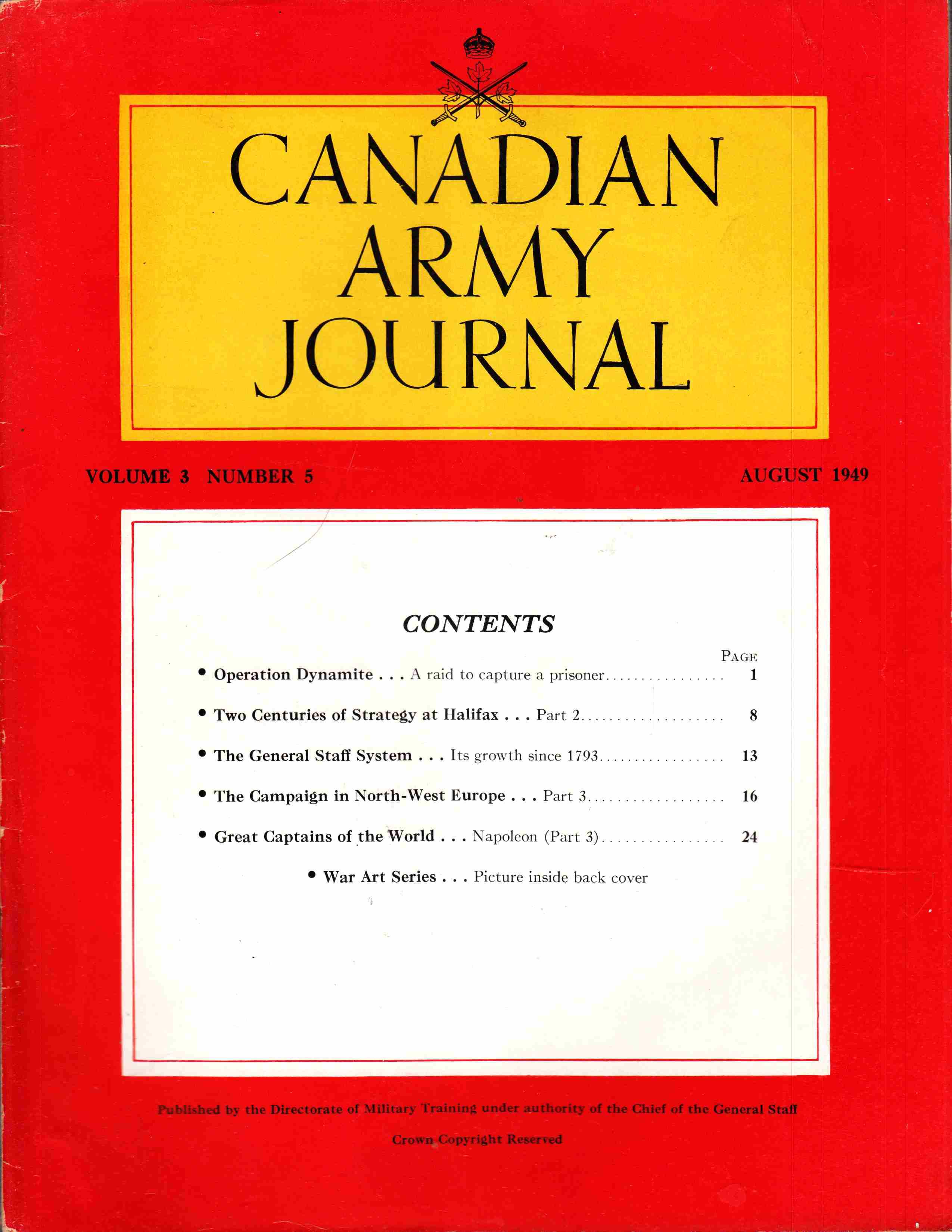Image for Canadian Army Journal Volume 3 Number 5 August 1949