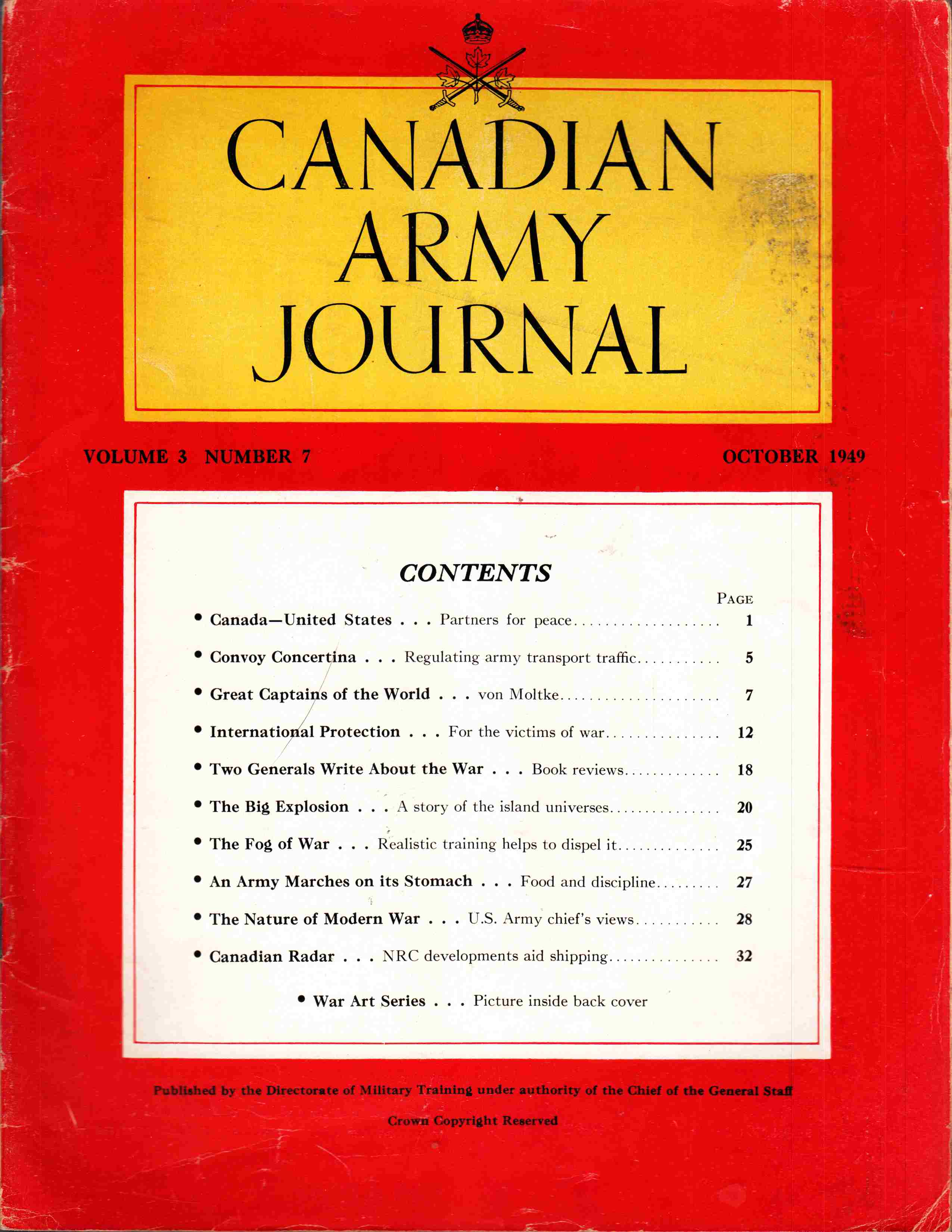 Image for Canadian Army Journal Volume 3 Number 7 October 1949