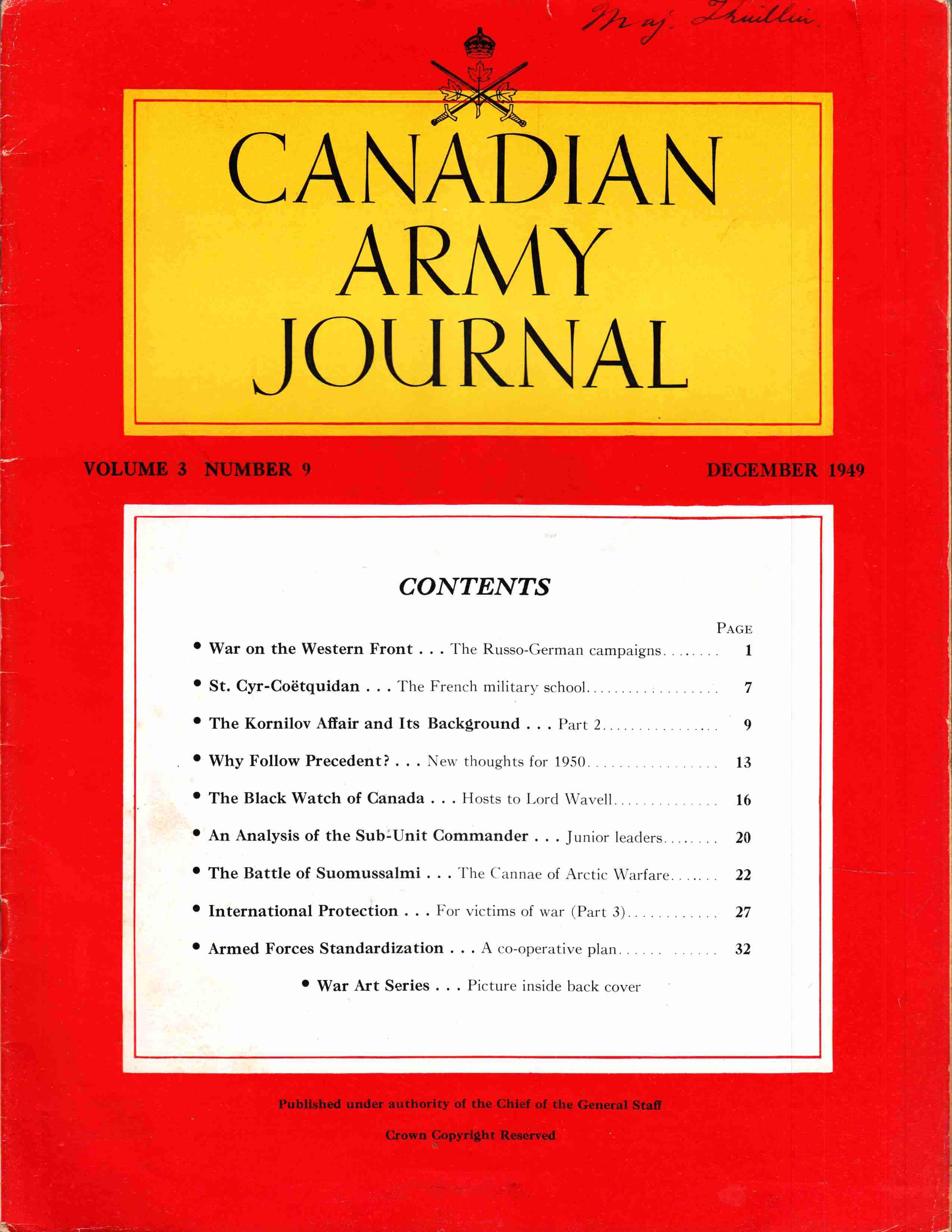 Image for Canadian Army Journal Volume 3 Number 9 December 1949