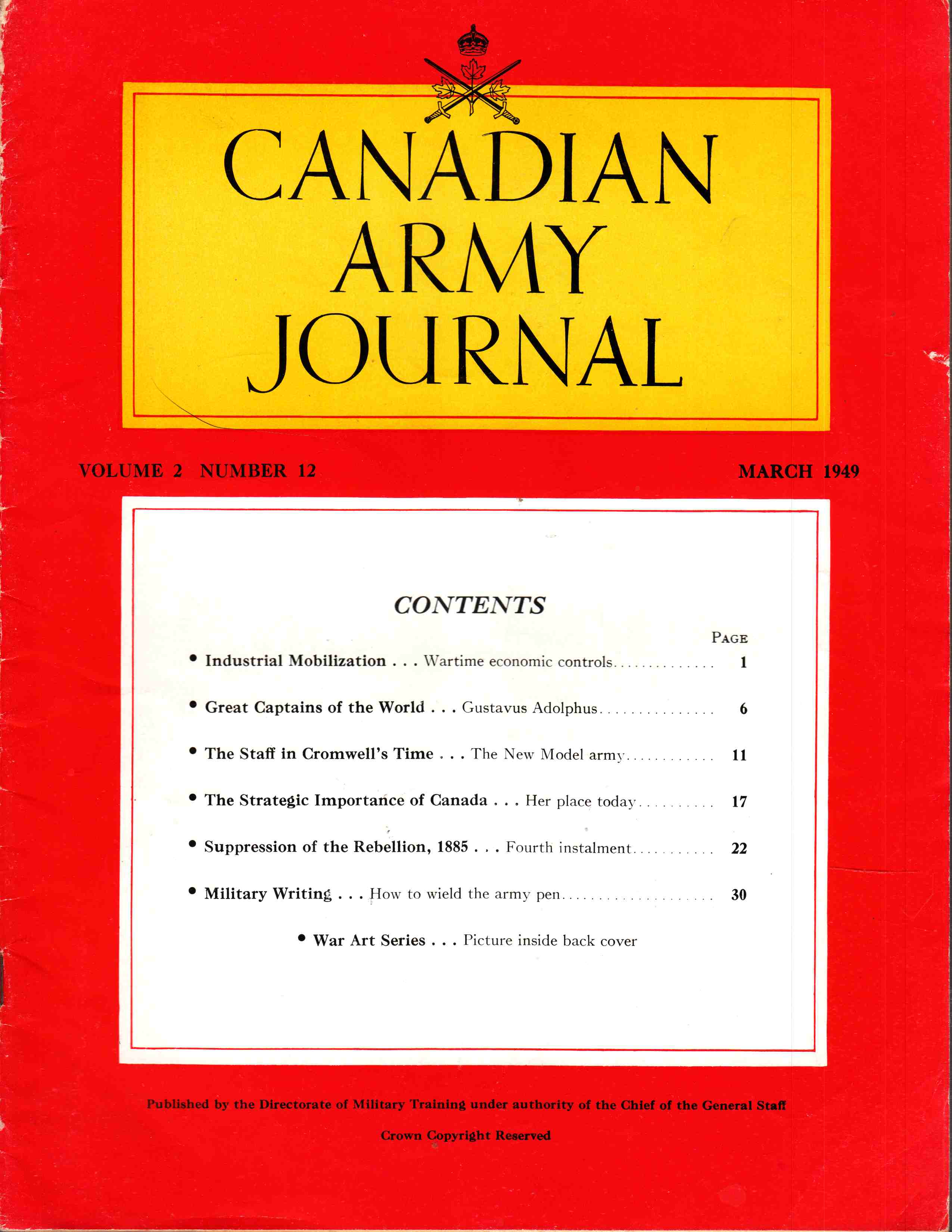 Image for Canadian Army Journal Volume 2 Number 12 March 1949