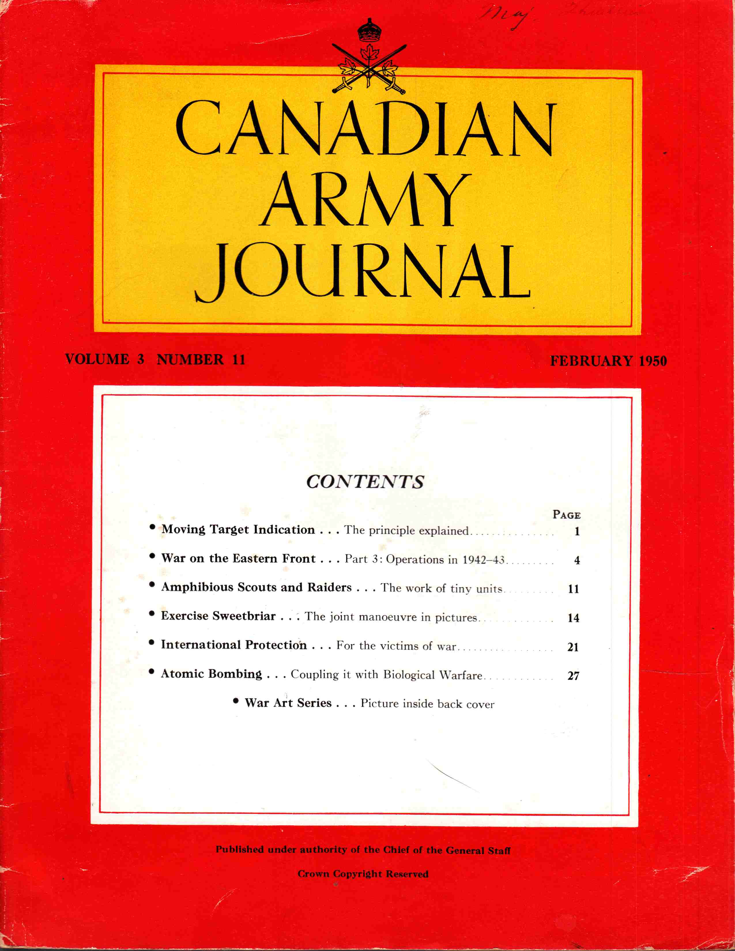 Image for Canadian Army Journal Volume 3 Number 3 February 1950