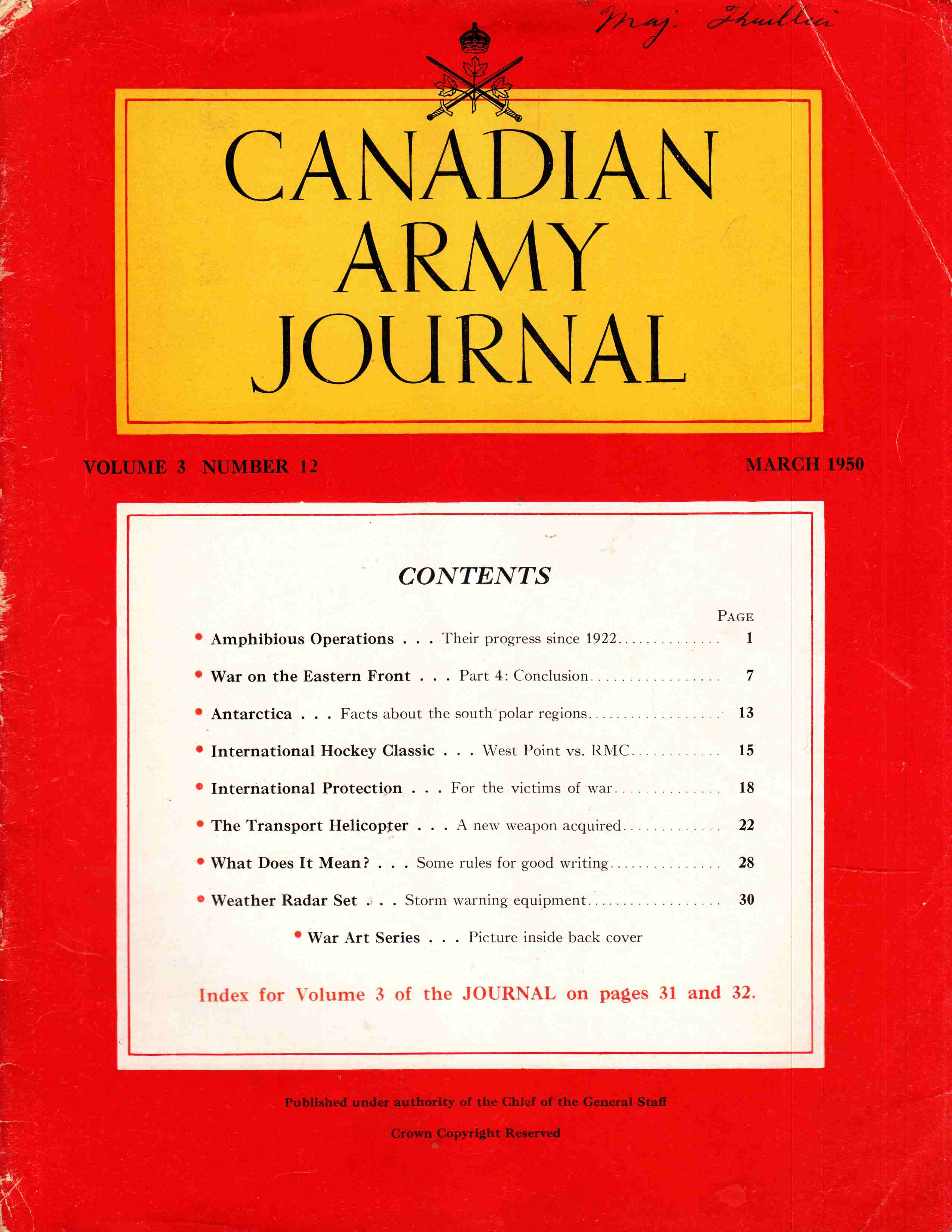 Image for Canadian Army Journal Volume 3 Number 12 March 1950