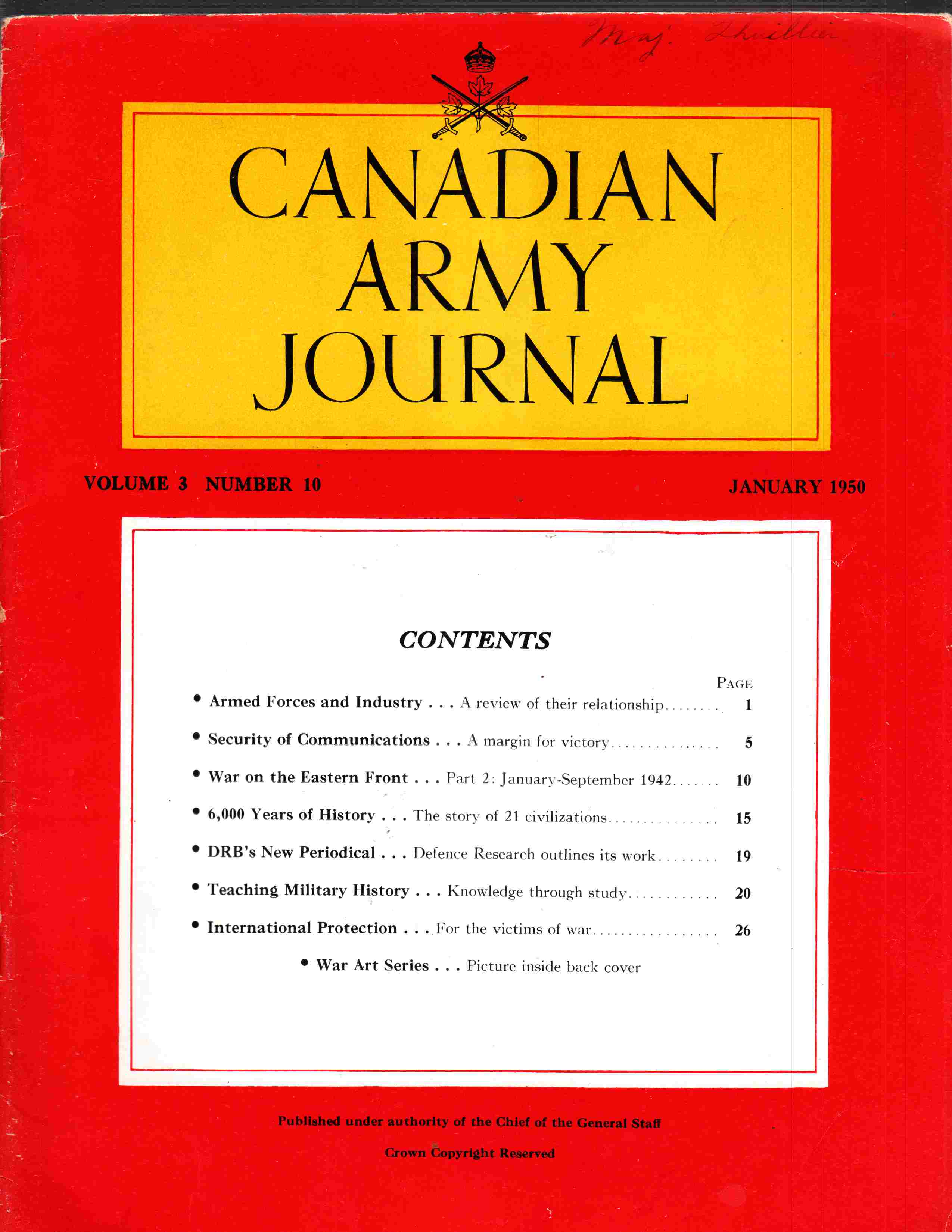 Image for Canadian Army Journal Volume 3 Number 10 January 1950