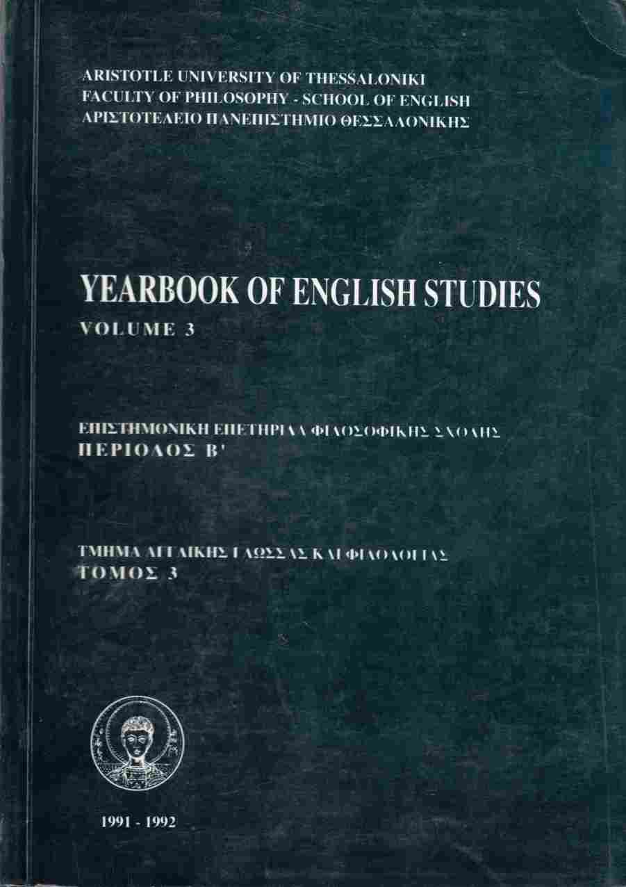 Image for Yearbook of English Studies Volume 3 1991-1992