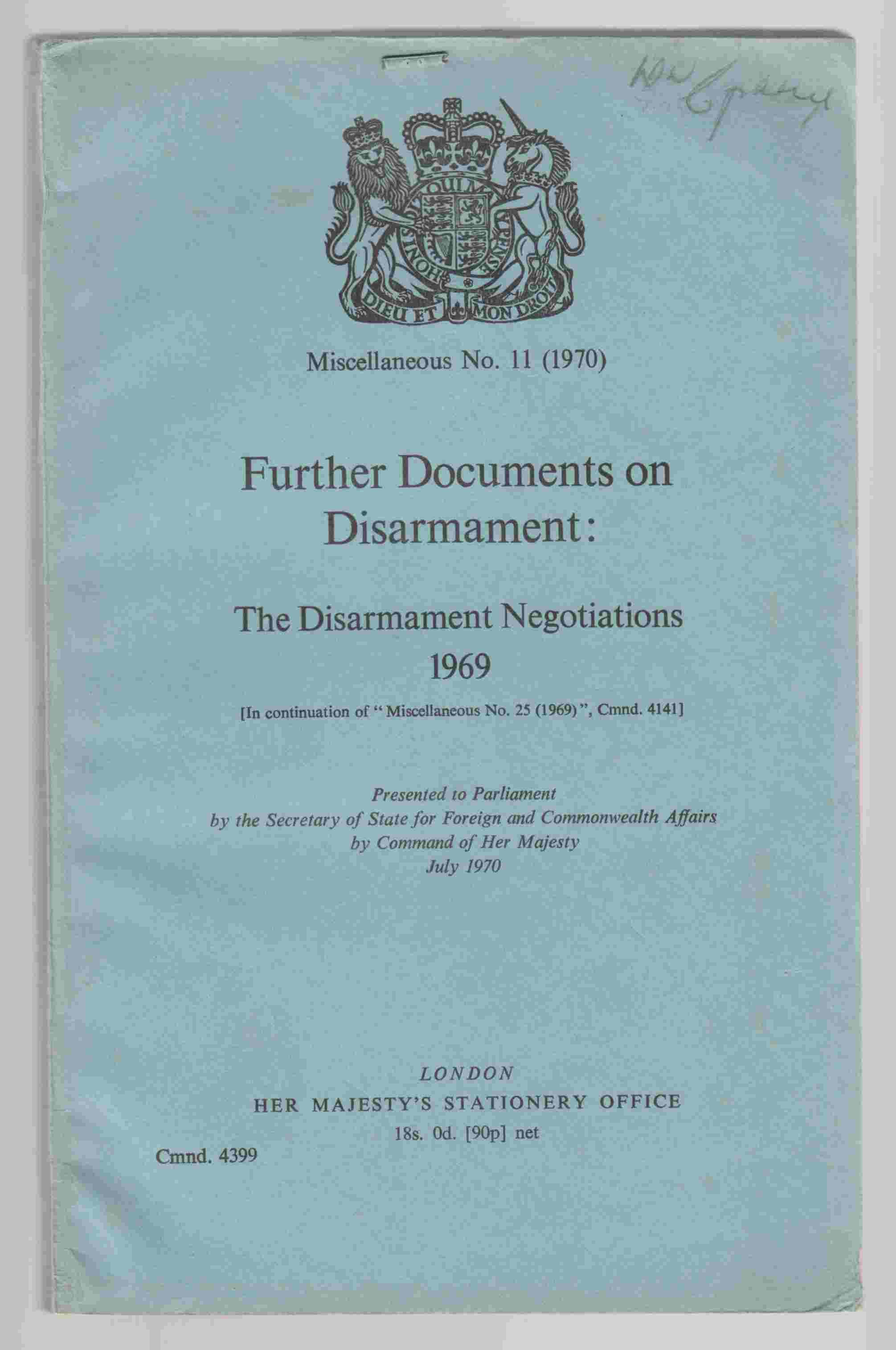 Image for Further Documents on Disarmament: The Disarmament Negotiations 1969