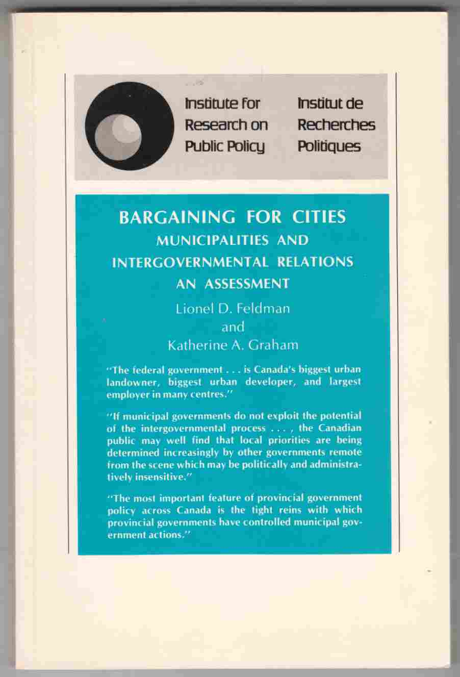 Image for Bargaining for Cities Municipalities and Intergovernmental Relations: an Assessment