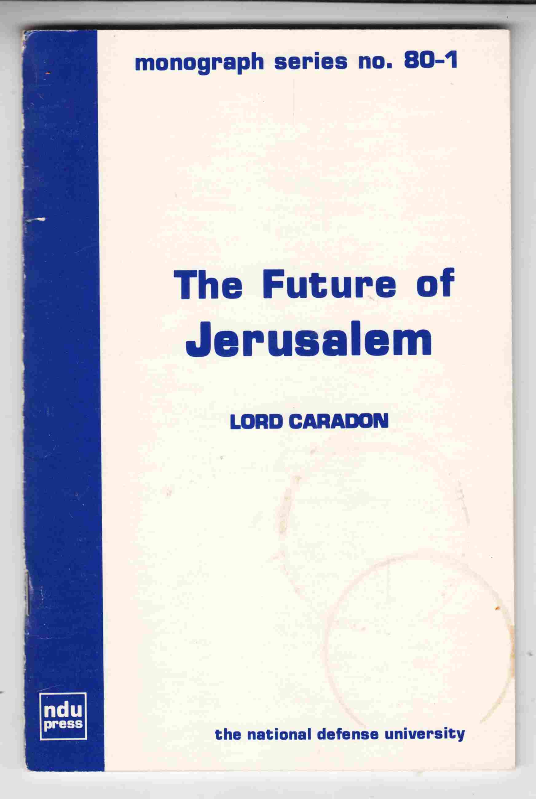 Image for The Future of Jerusalem:  A Review of Proposals for the Future of the City