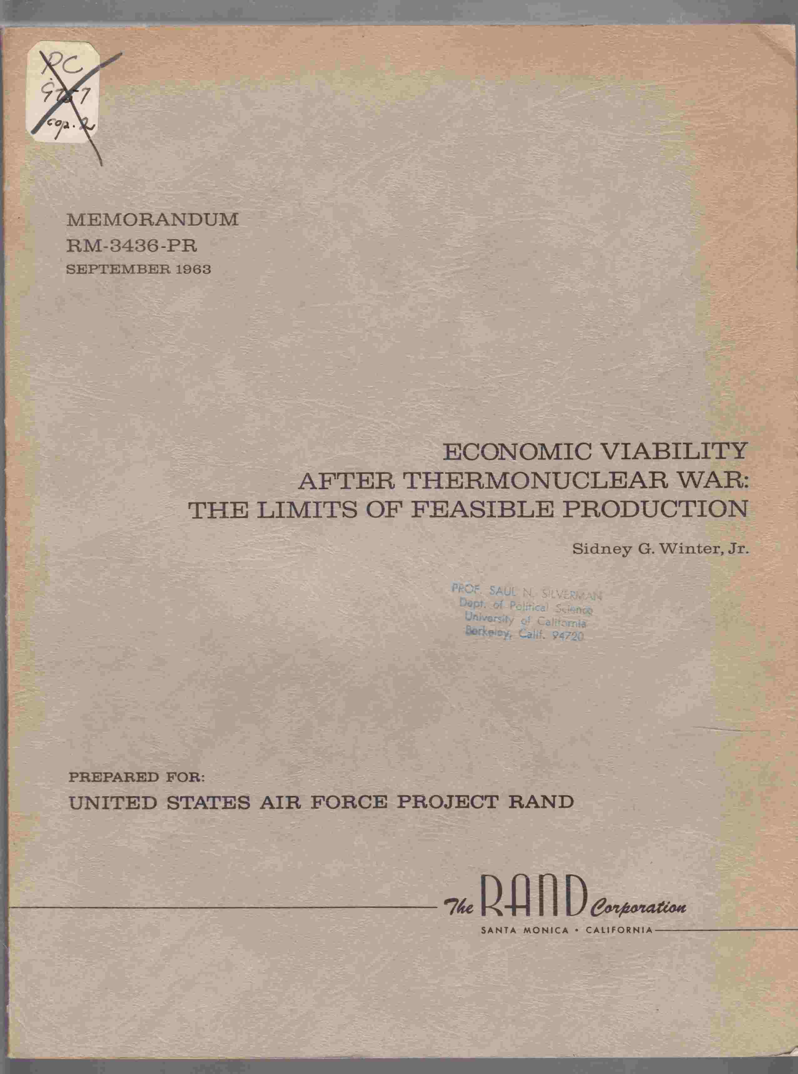 Image for Economic Viability after Thermonuclear War:  The Limits of Feasible Production