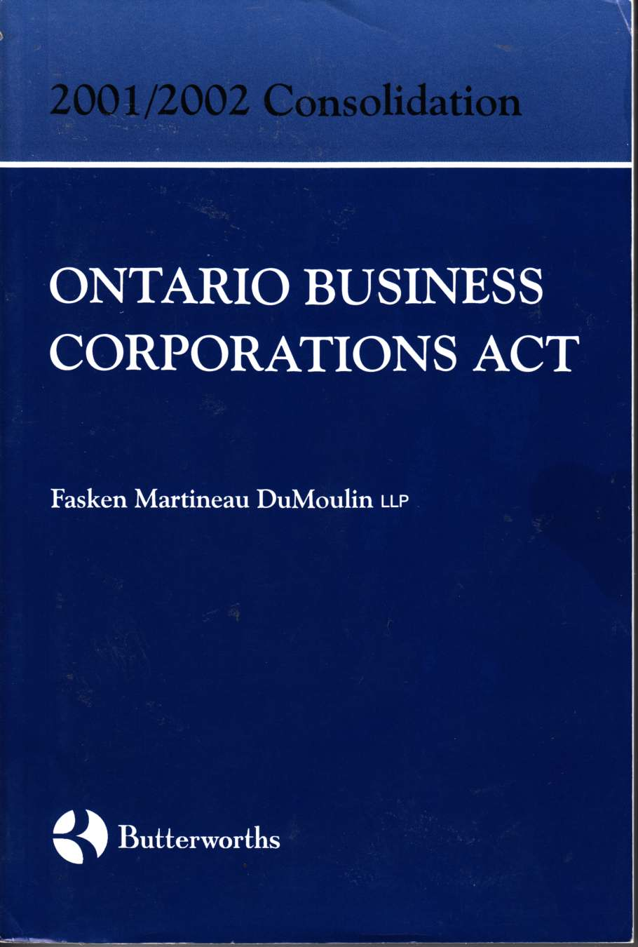 Image for 2001/2002 Ontario Business Corporations Act Consolidation