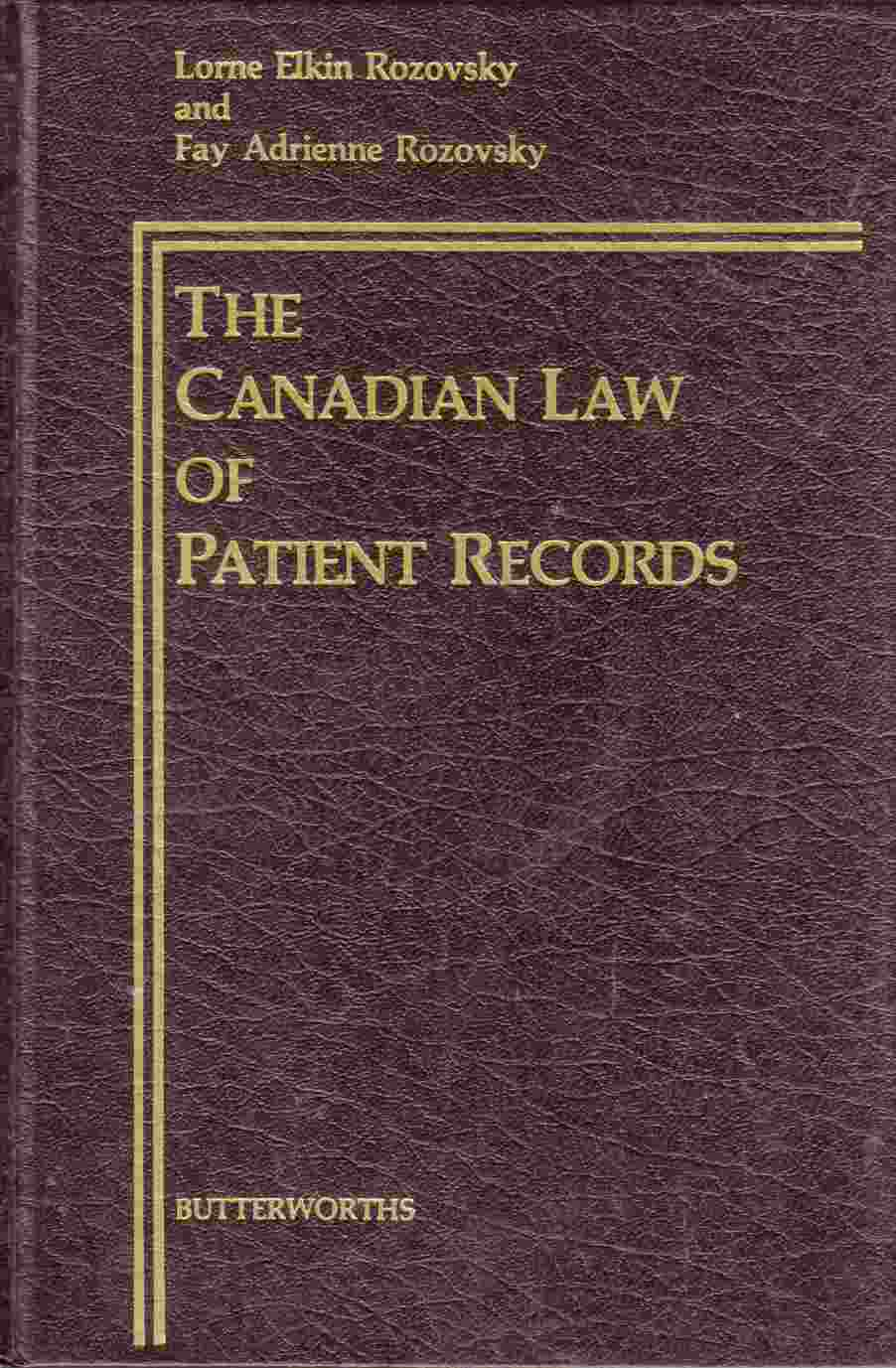 Image for The Canadian Law of Patient Records