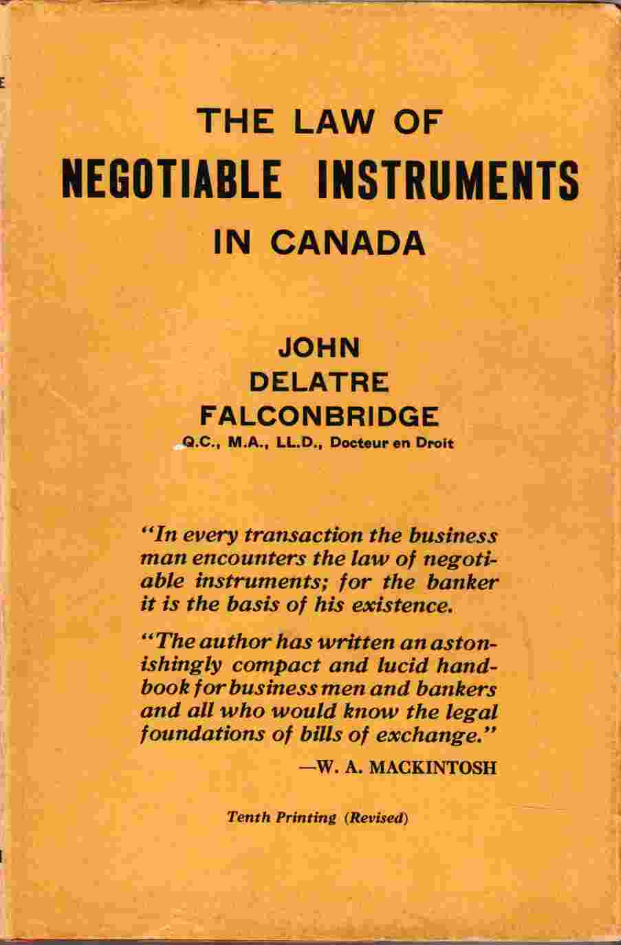 Image for The Law of Negotiable Instruments in Canada