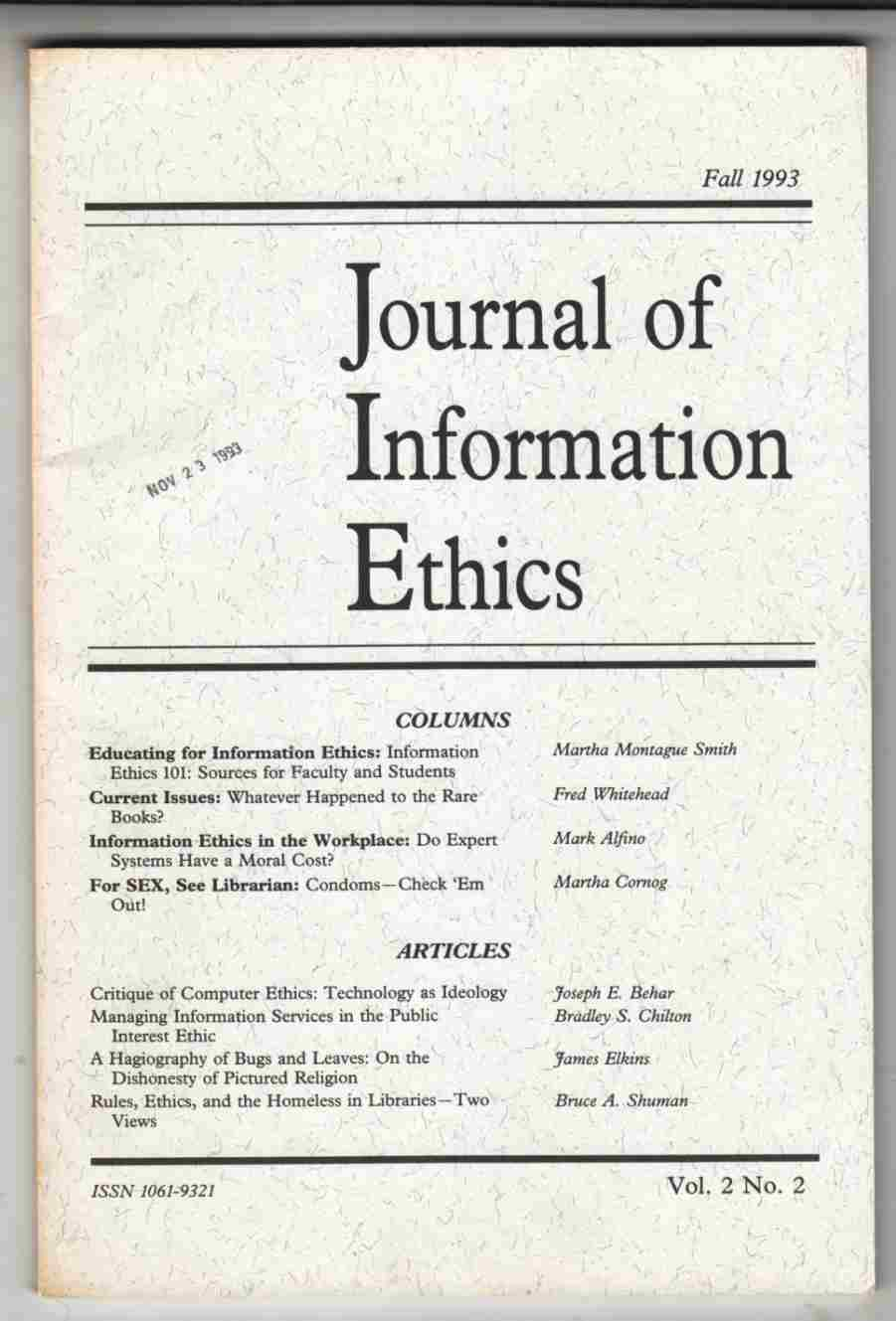 Image for Journal of Information Ethics Fall 1993 Vol. 2. No. 2