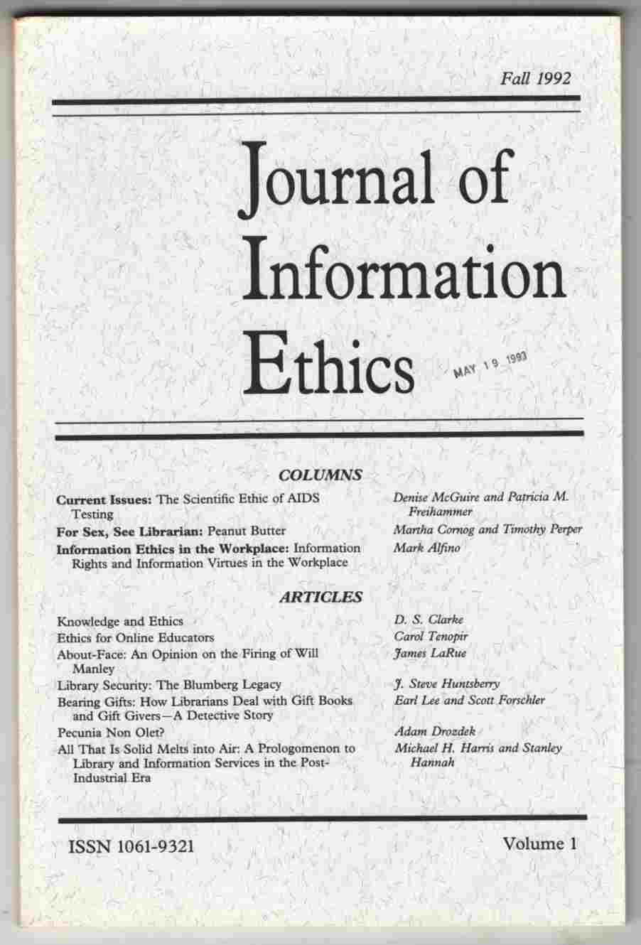 Image for Journal of Information Ethics Fall 1992 Vol. 1