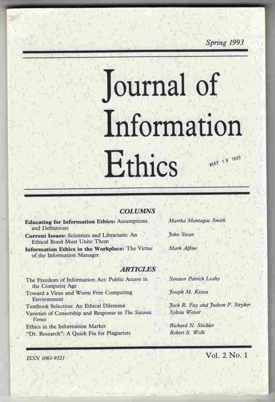 Image for Journal of Information Ethics Spring 1993 Vol. 2. No. 1
