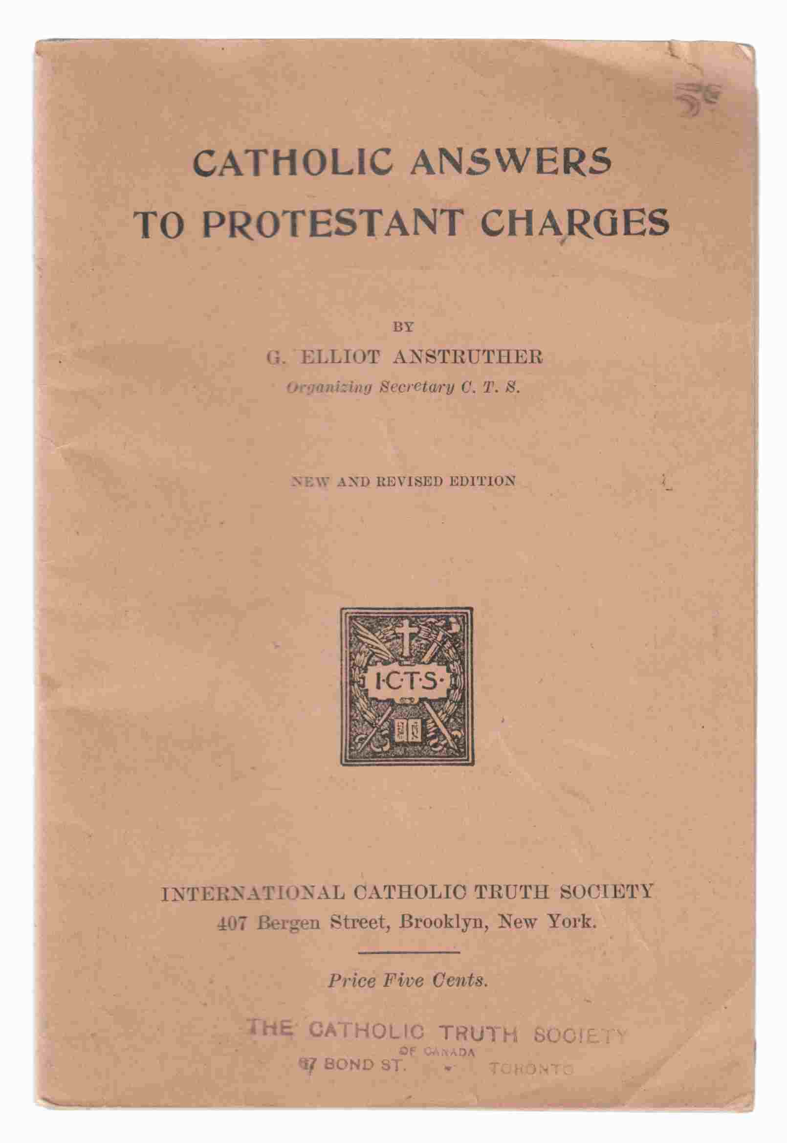 Image for Catholic Answers to Protestant Charges New and Revised Edition
