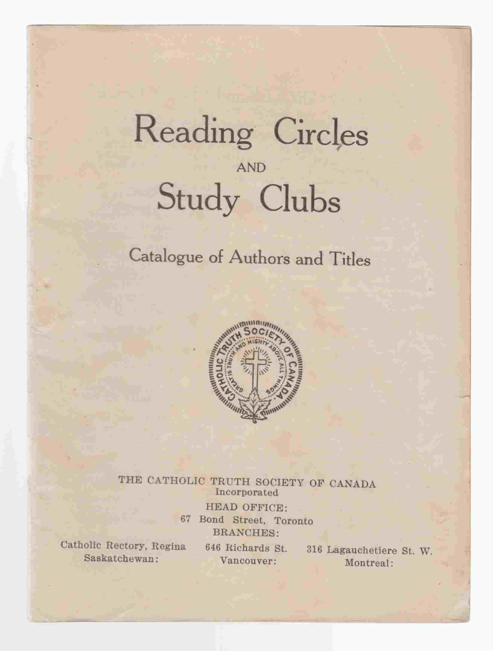 Image for Reading Circles and Study Clubs: Catalogue of Authors and Titles