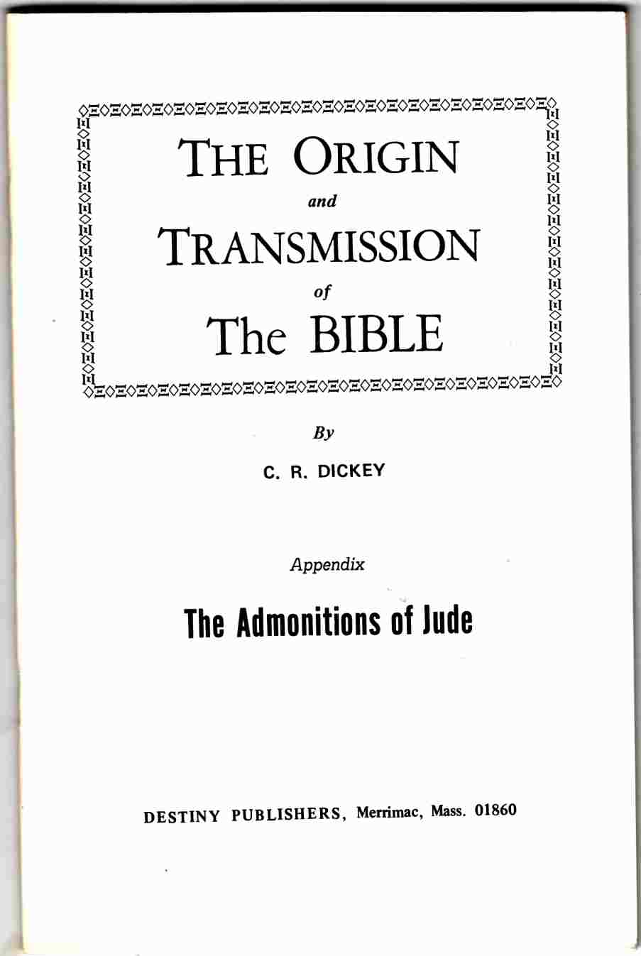Image for The Origin and Transmission of the Bible