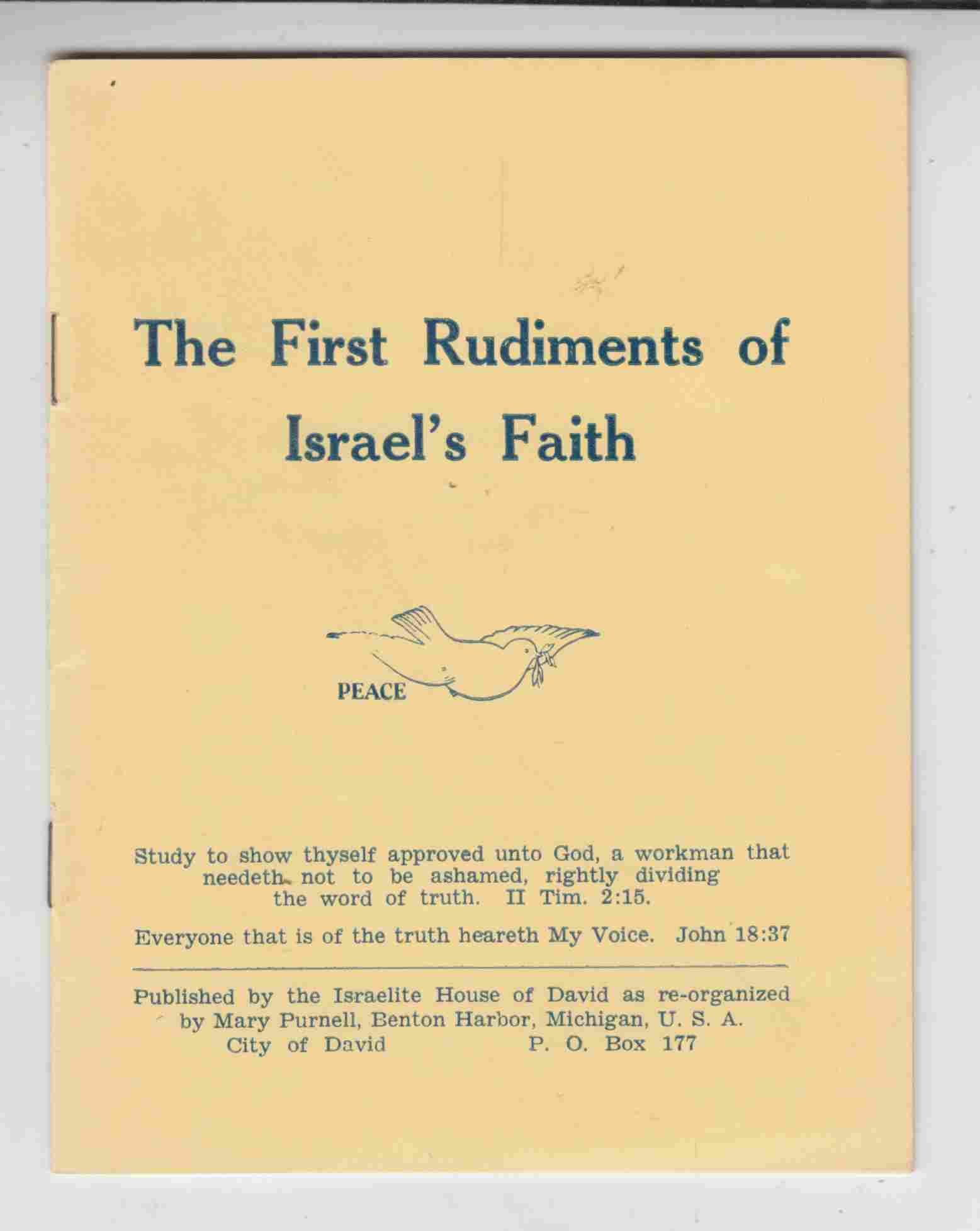 Image for First Rudiments of Israel's Faith
