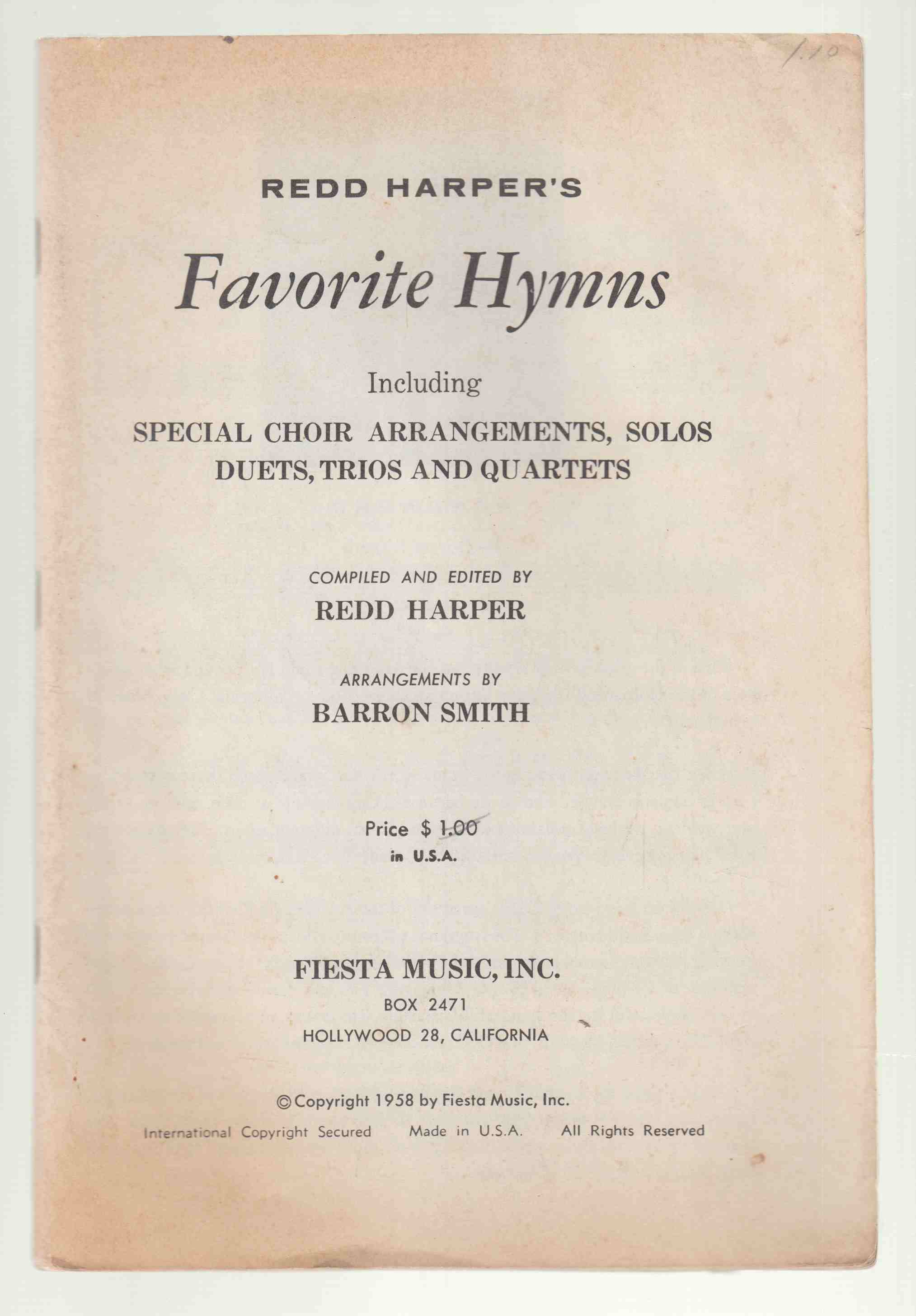 Image for Redd Harper's Favourite Hymns Including Special Choir Arrangements, Solos, Duets, Trios and Quartets
