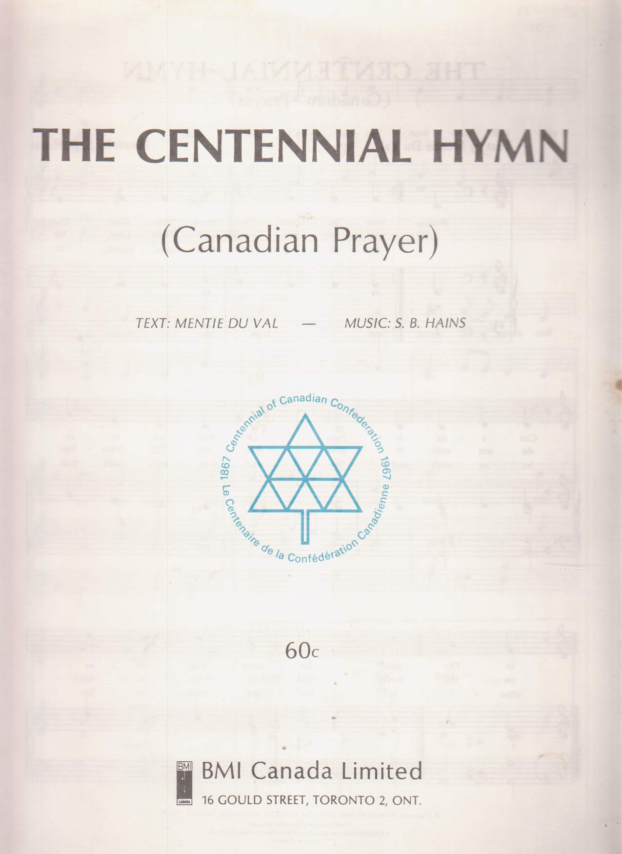Image for The Centennial Hymn (Canadian Prayer)