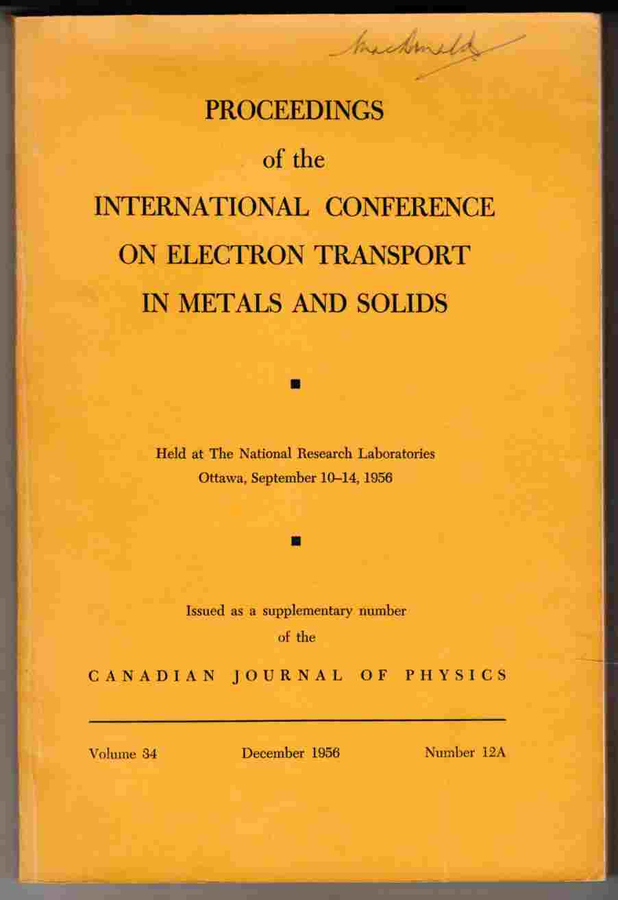 Image for Proceedings of the International Conference on Electron Transport in Metals and Solids