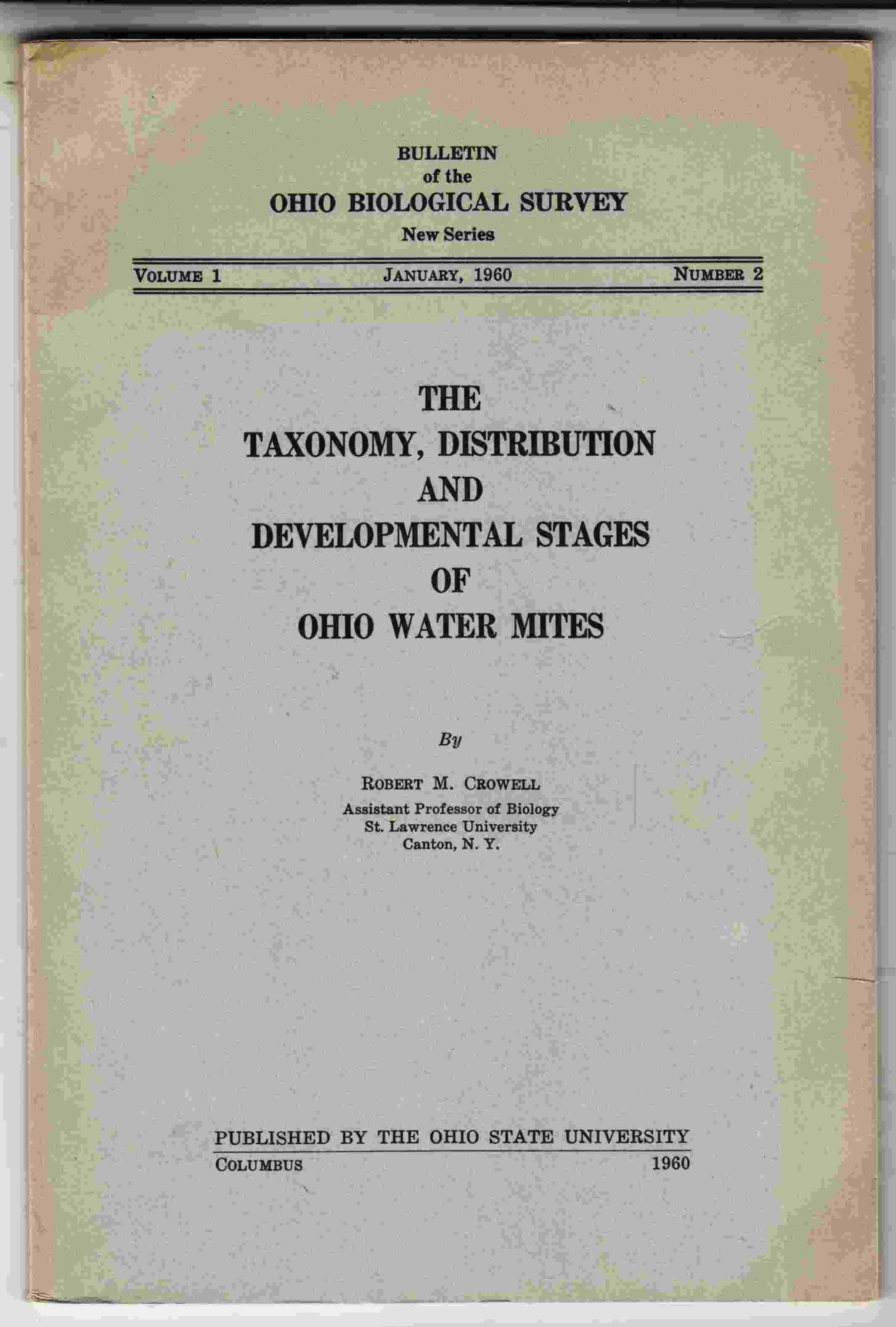 Image for The Taxonomy, Distribution and Developmental Stages of Ohio Water Mites