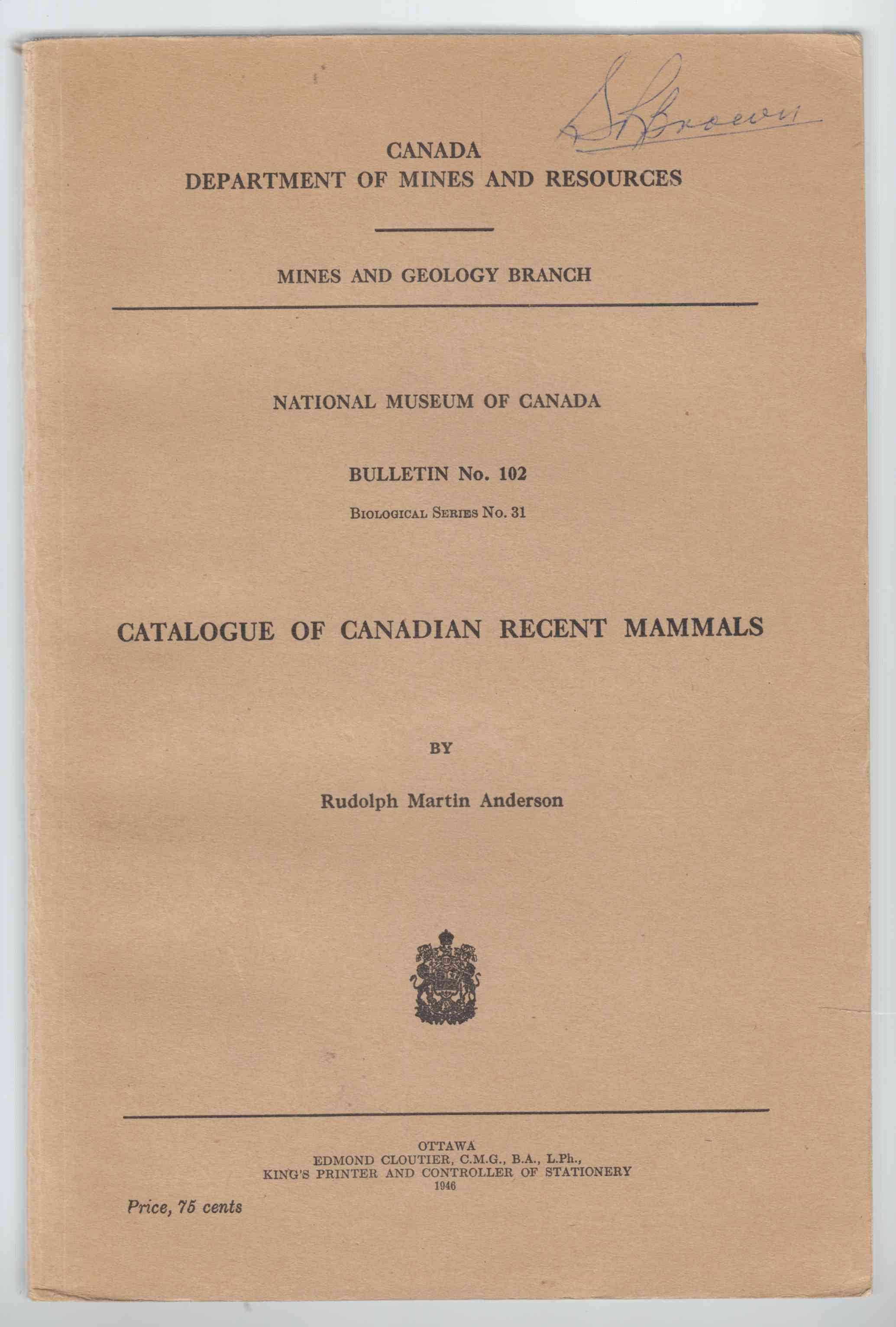 Image for Catalogue of Canadian Recent Mammals Bulletin No. 102