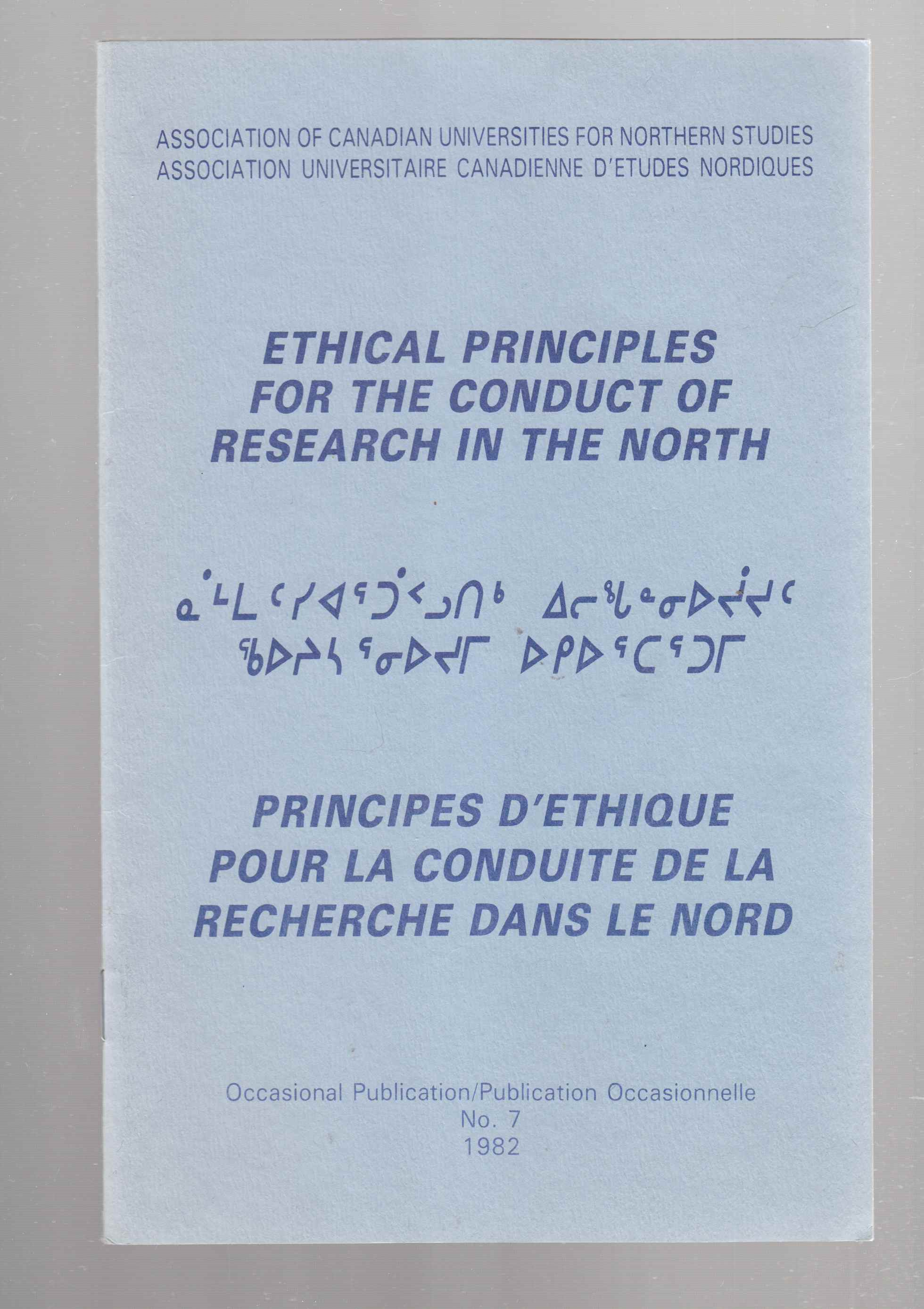 Image for Ethical Principles for the Conduct of Research in the North