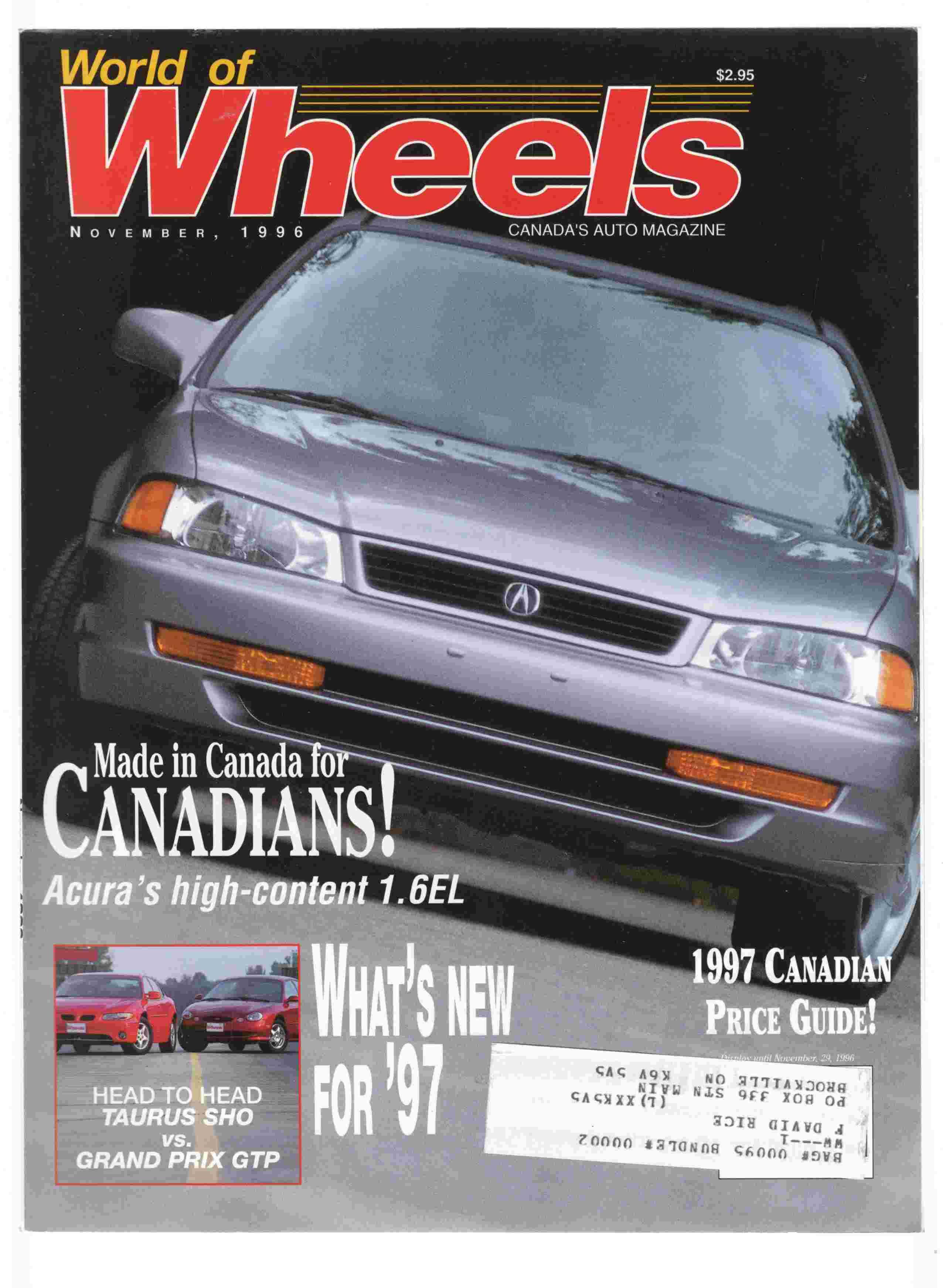 World of Wheels Canada\'s Auto Magazine November, 1996 Vol. 14, No. 5