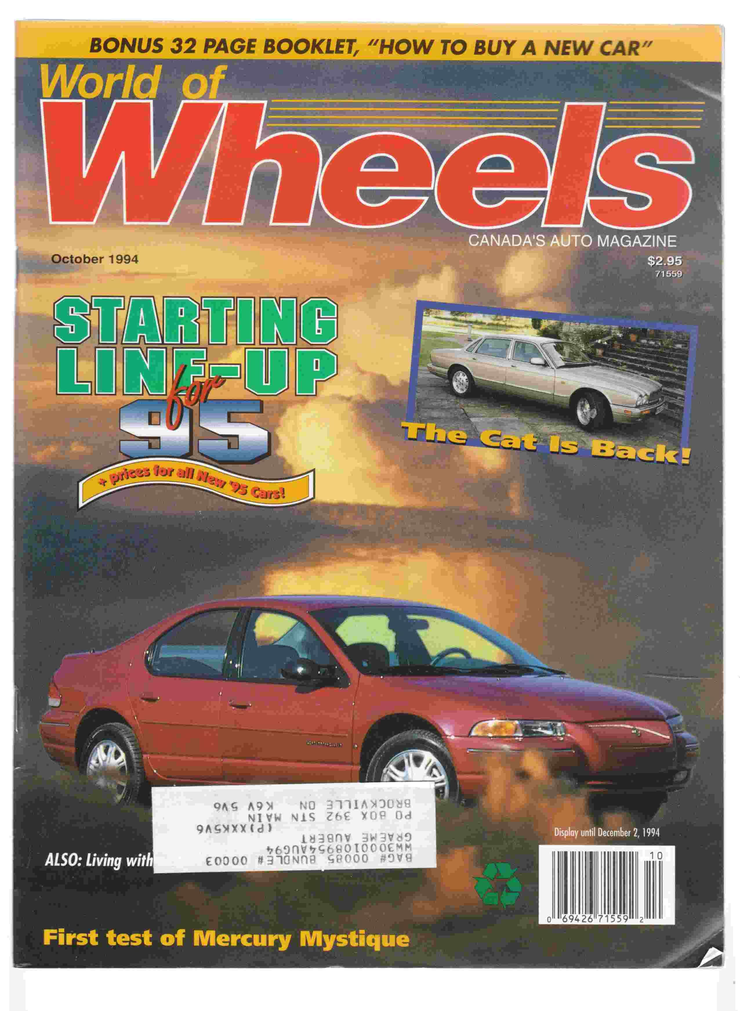World of Wheels Canada\'s Auto Magazine October, 1994 Vol. 12, No. 5