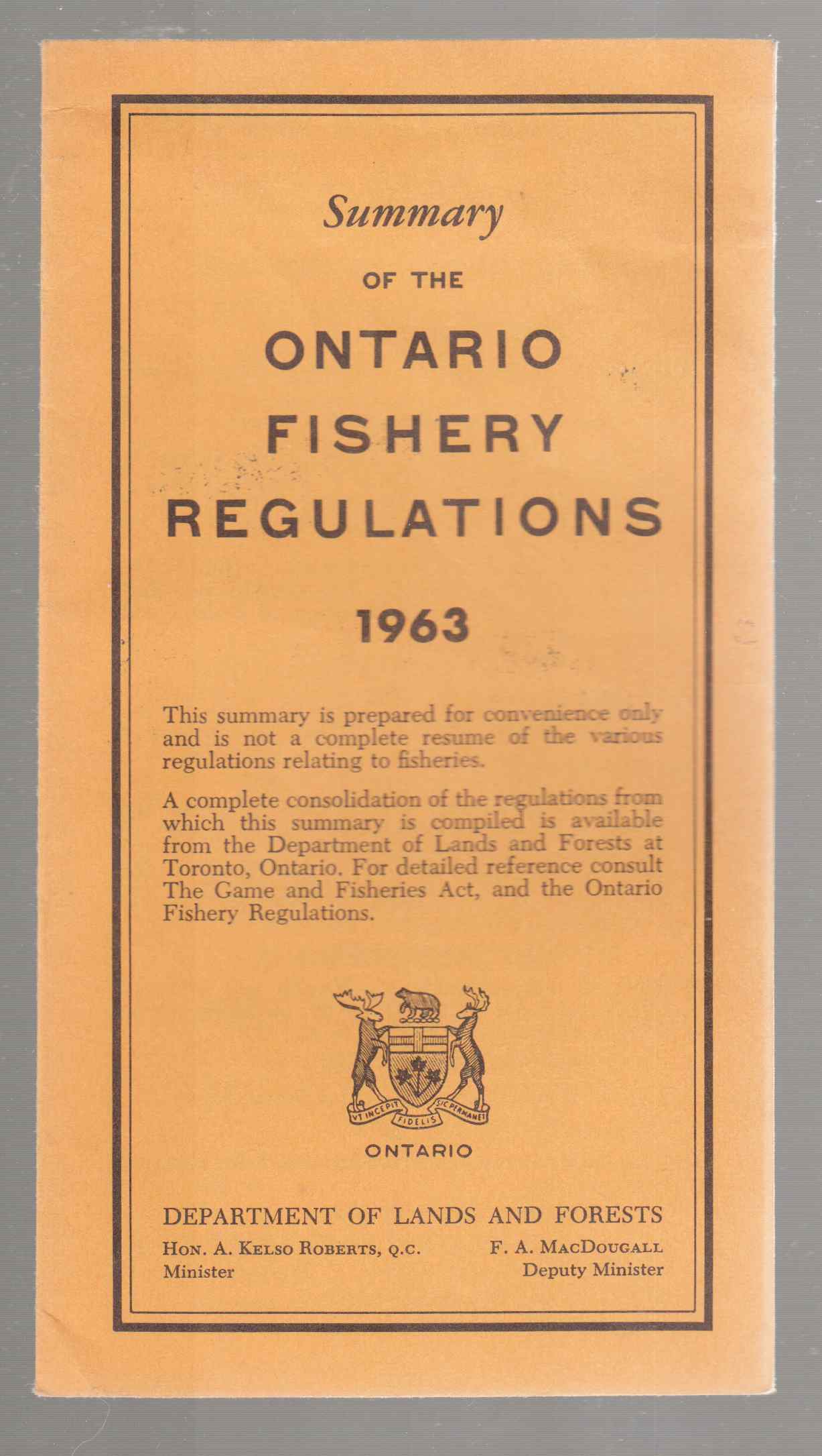 Image for Summary of the Ontario Fishery Regulations 1963