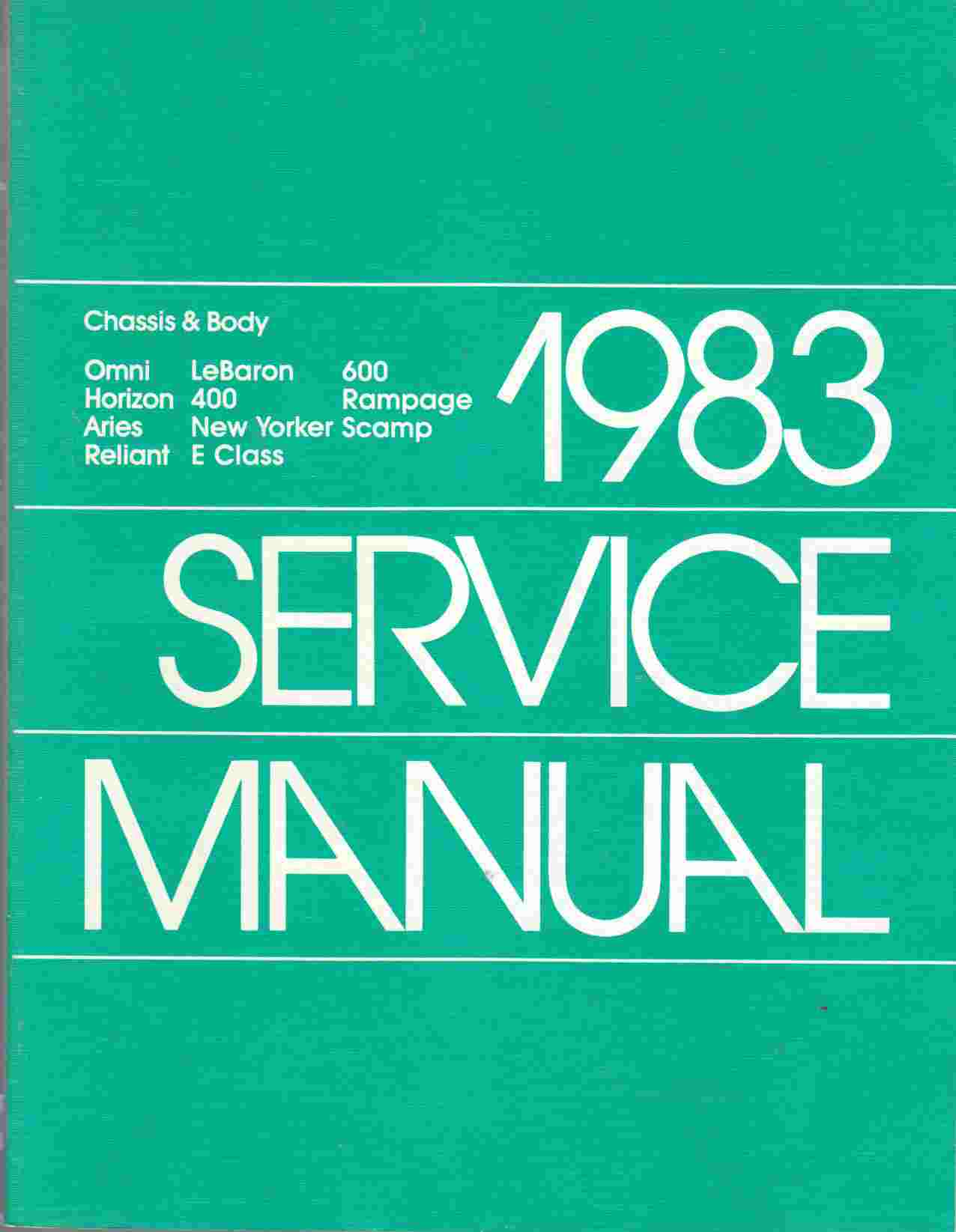 Image for Chrysler Corporation Chassis-Body Service Manual 1983