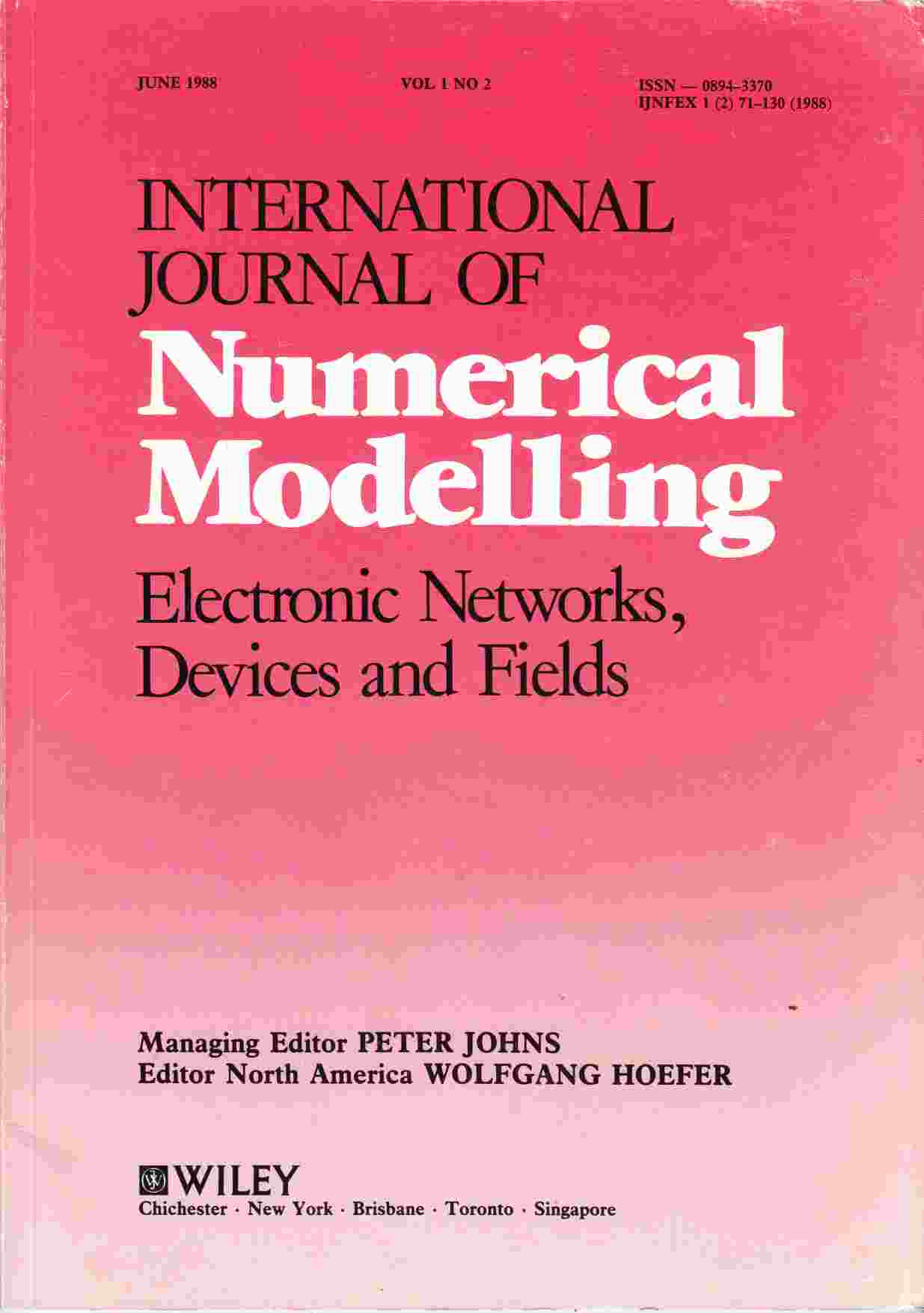 Image for International Journal of Numerical Modelling Electronic Networks, Devices and Fields