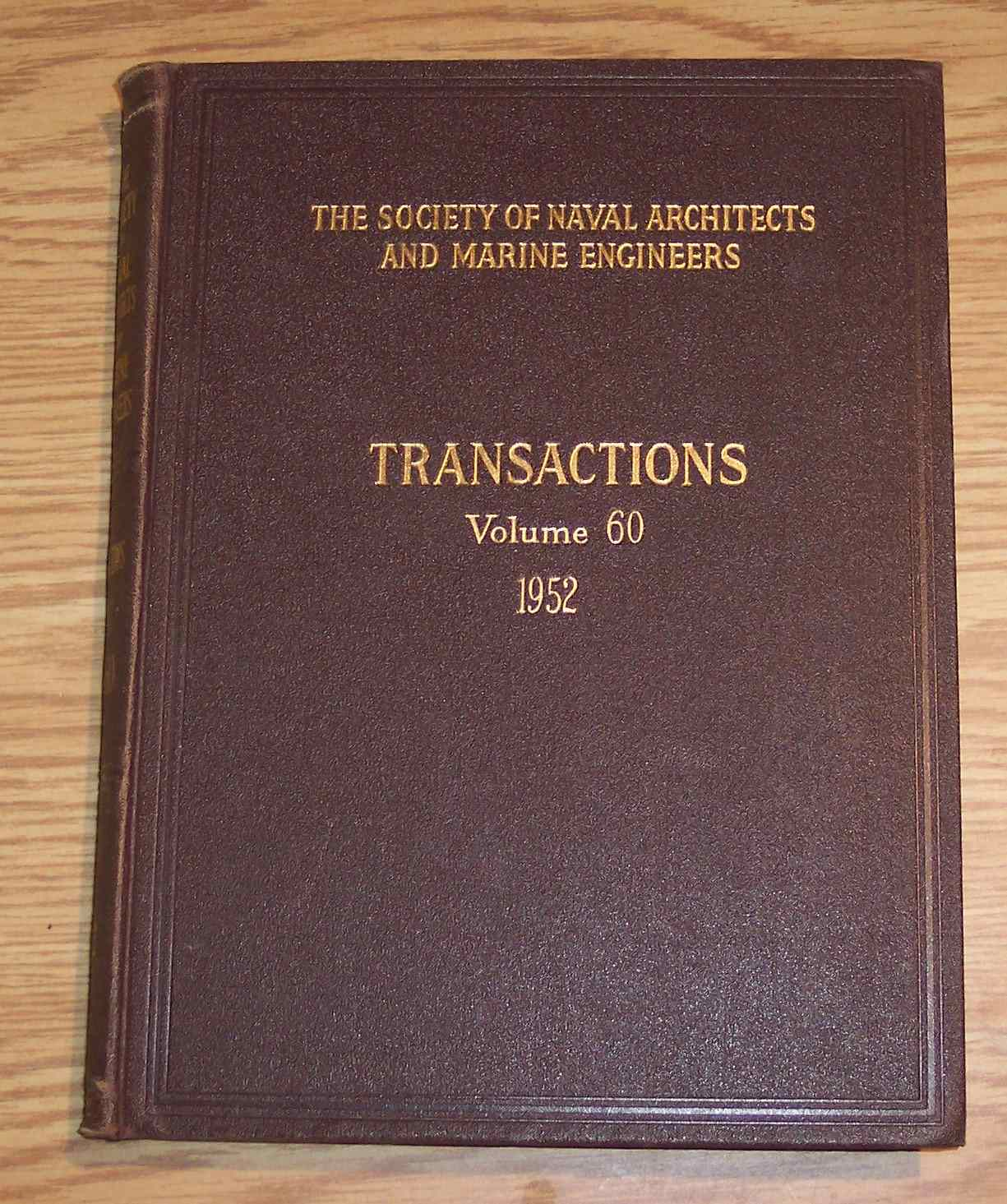 Image for The Society of Naval Architects and Marine Engineers Transactions Volume 60 1952