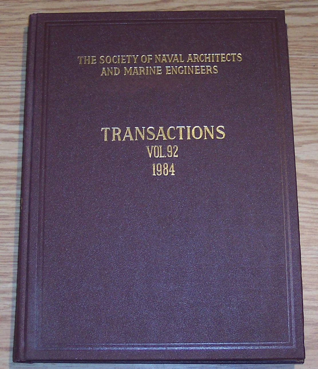 Image for The Society of Naval Architects and Marine Engineers Transactions Volume 92 1984