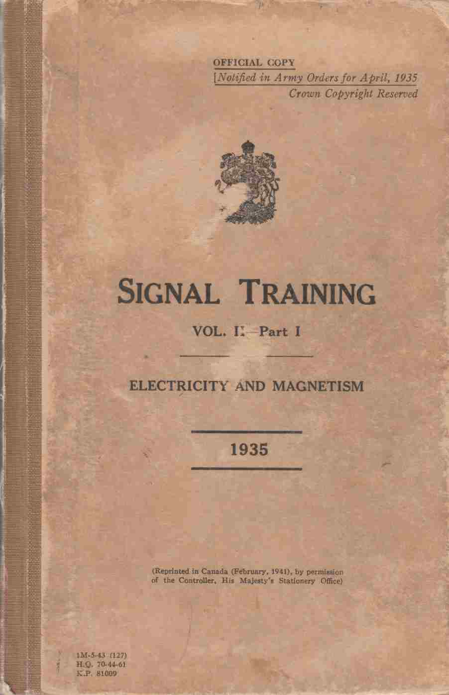 Image for Signal Training Vol. II Part I:  Electricity and Magnetism