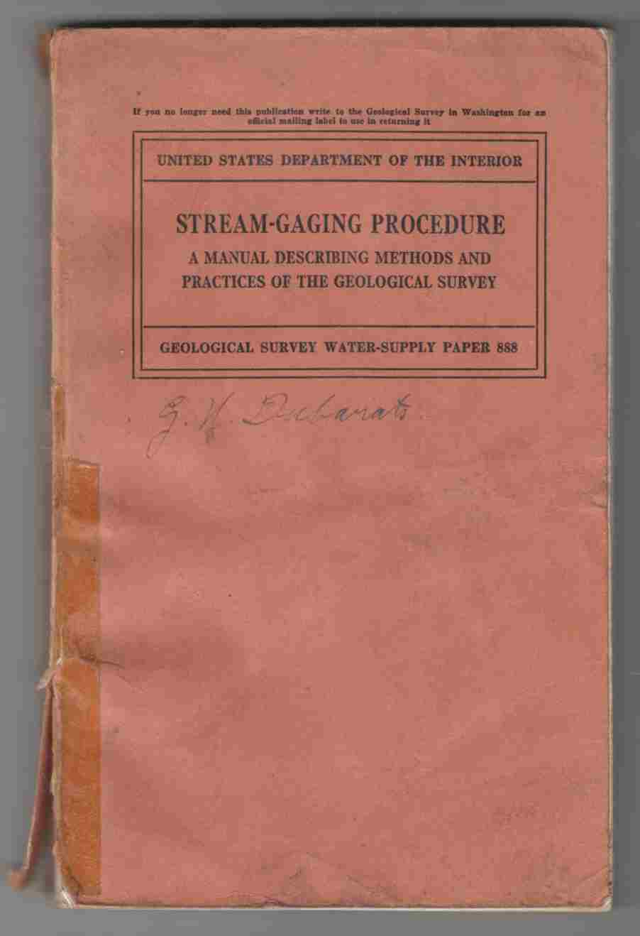 Image for Stream-Gaging Procedure A Manual Describing Methods and Practices of the Geological Survey